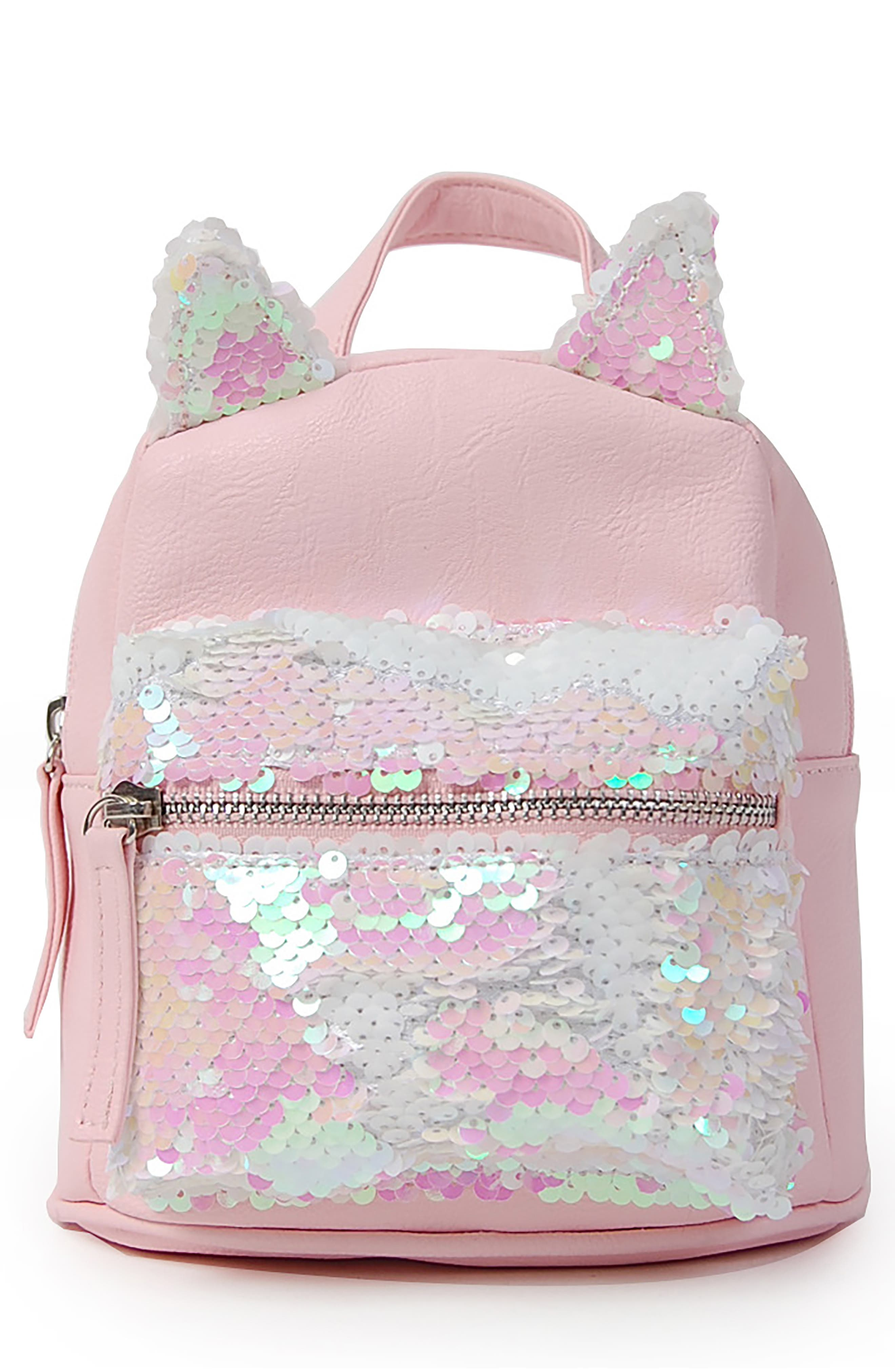 Micro Flip Sequin Cat Backpack,                         Main,                         color, PINK