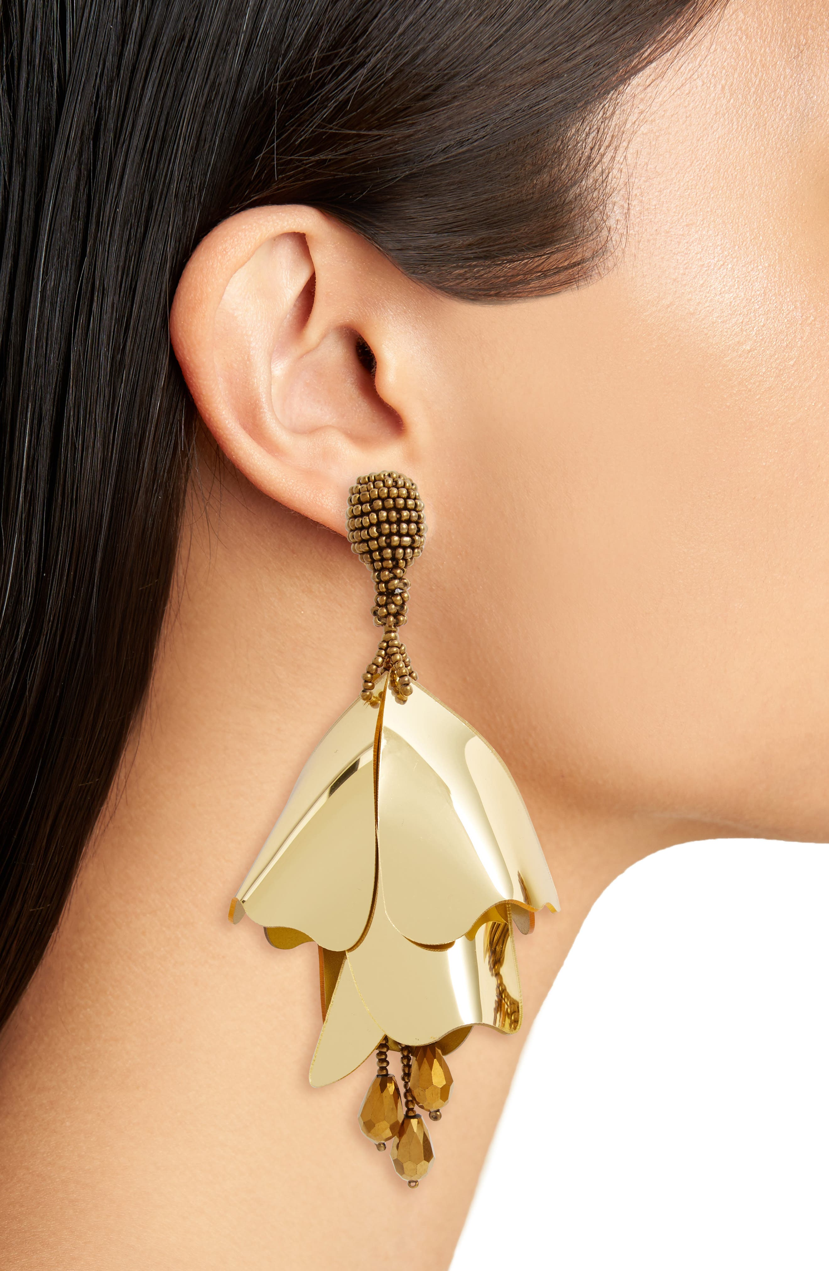 Large Impatiens Flower Clip Earrings,                             Alternate thumbnail 15, color,
