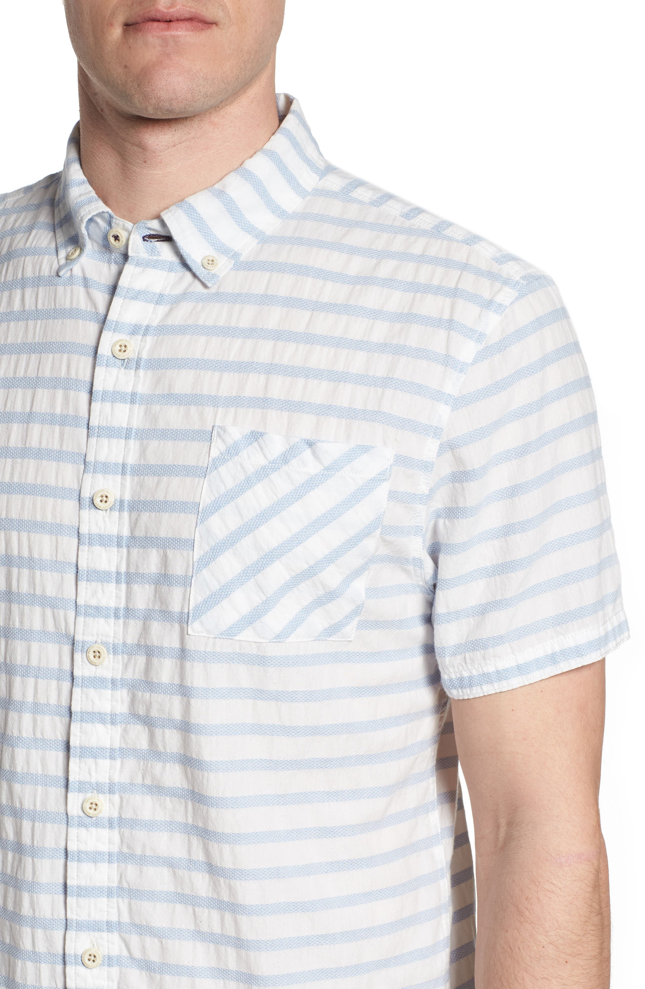 Truman Slim Fit Stripe Sport Shirt,                             Alternate thumbnail 4, color,                             WHITE/ BLUE