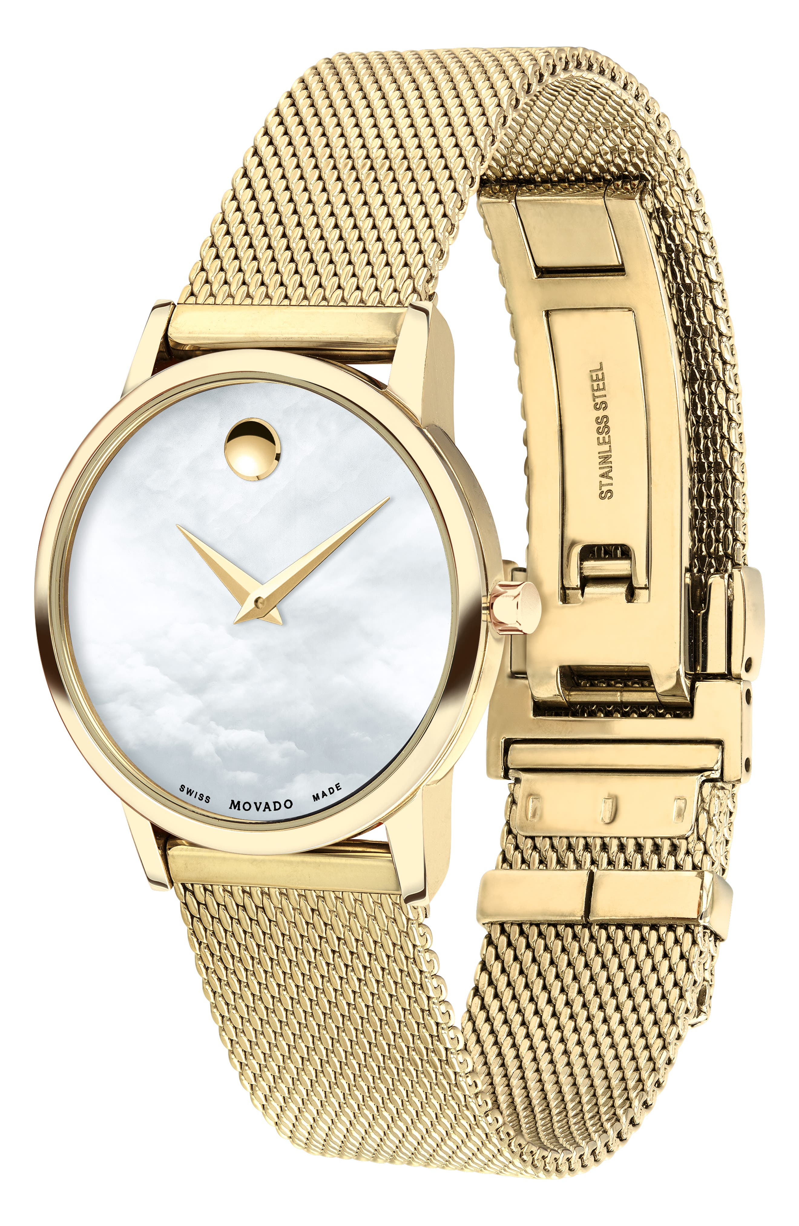 Museum Mesh Strap Watch, 28mm,                             Alternate thumbnail 3, color,                             GOLD/ WHITE MOP/ GOLD