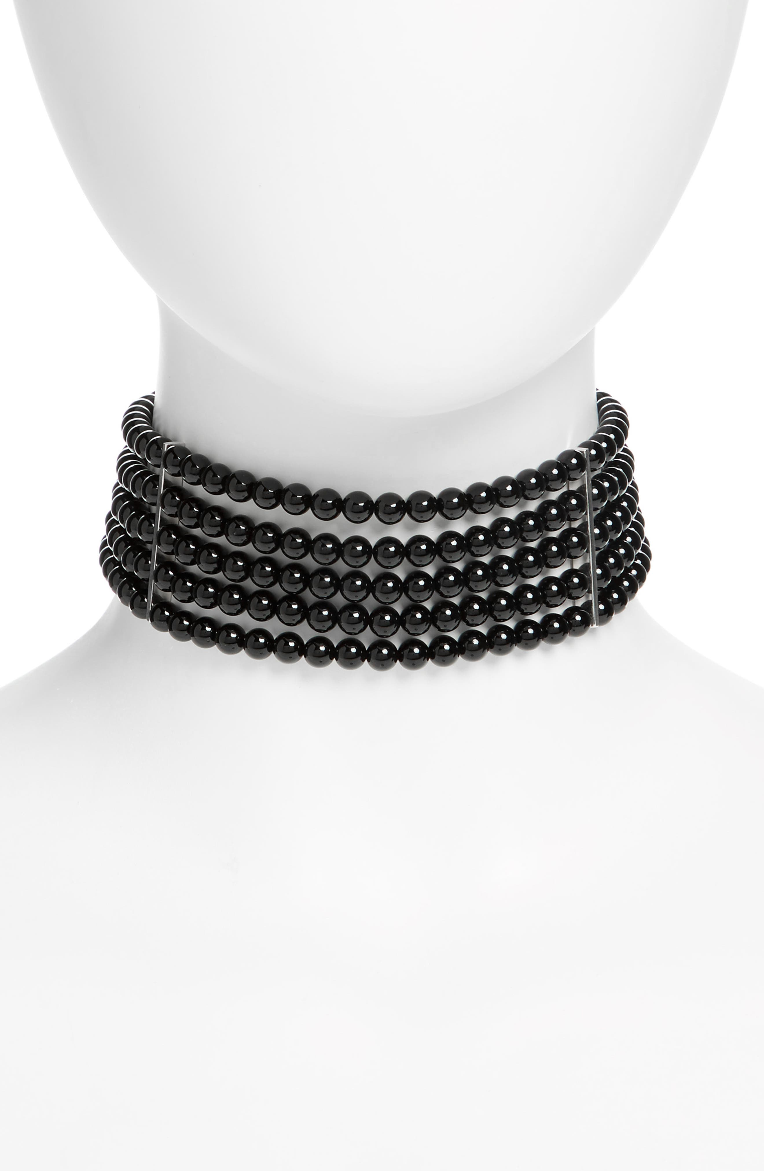 Onyx & Sterling Silver Choker,                             Alternate thumbnail 2, color,                             STERLING SILVER
