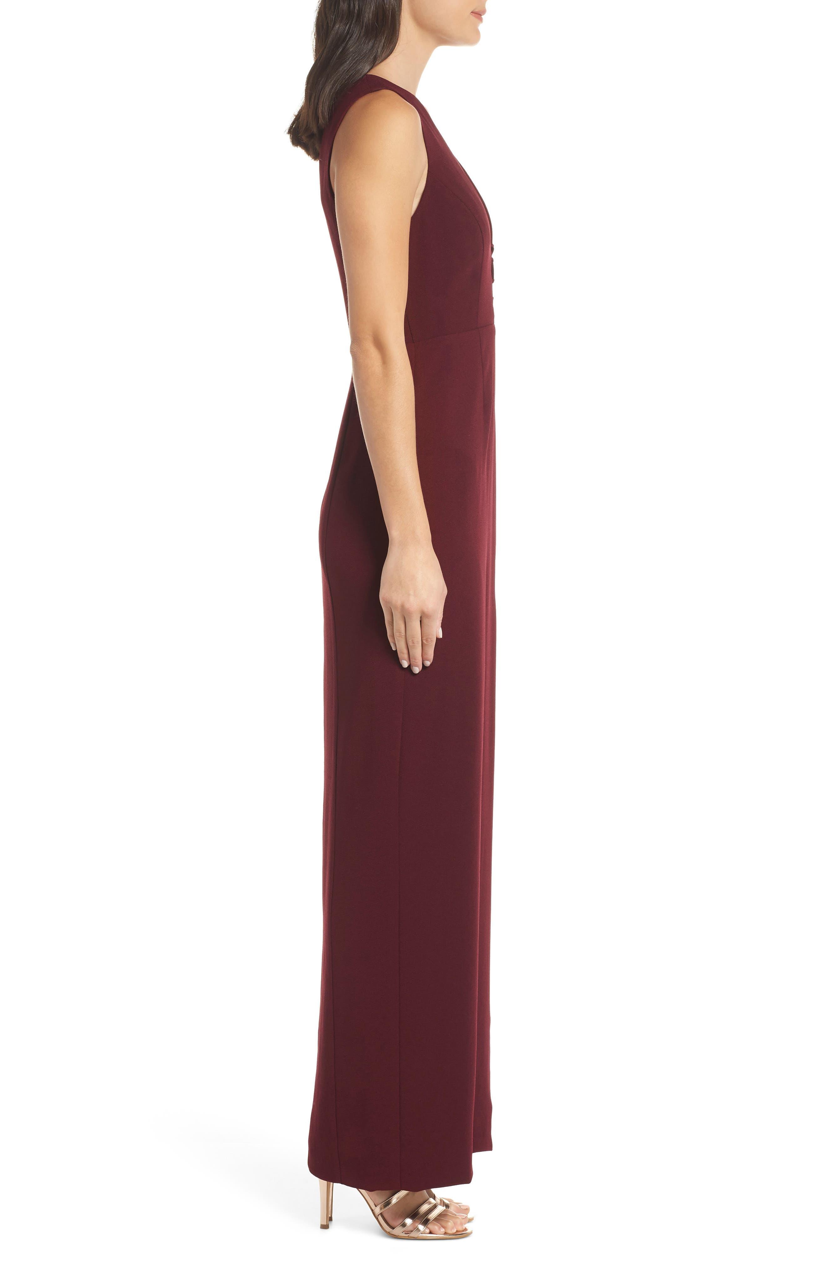 The Casey Plunge Neck Gown,                             Alternate thumbnail 3, color,                             CABERNET