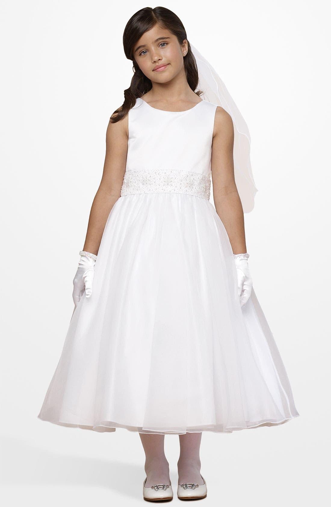 Beaded Waist Dress,                         Main,                         color, WHITE