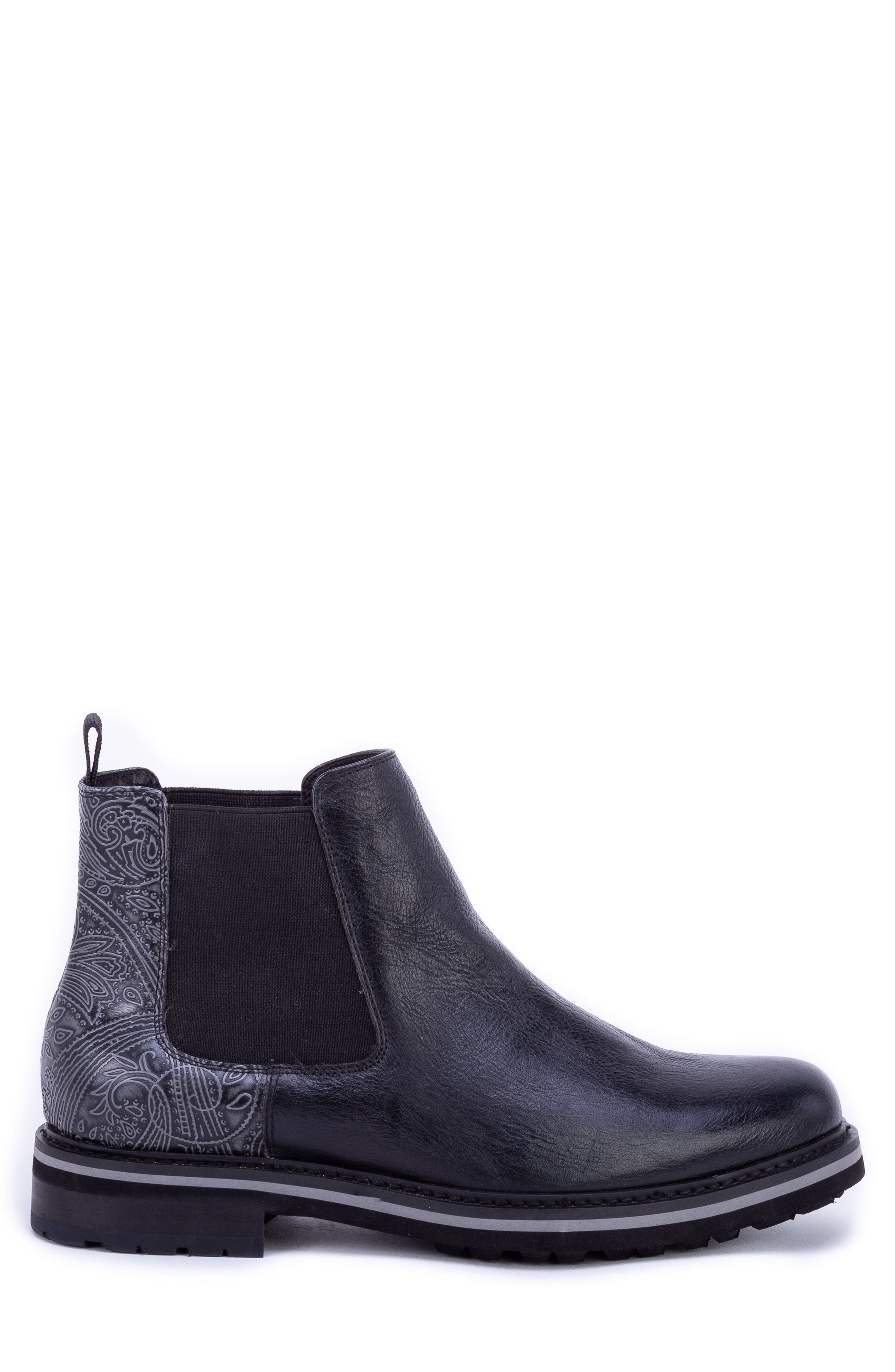 Yates Textured Chelsea Boot,                             Alternate thumbnail 3, color,                             BLACK LEATHER