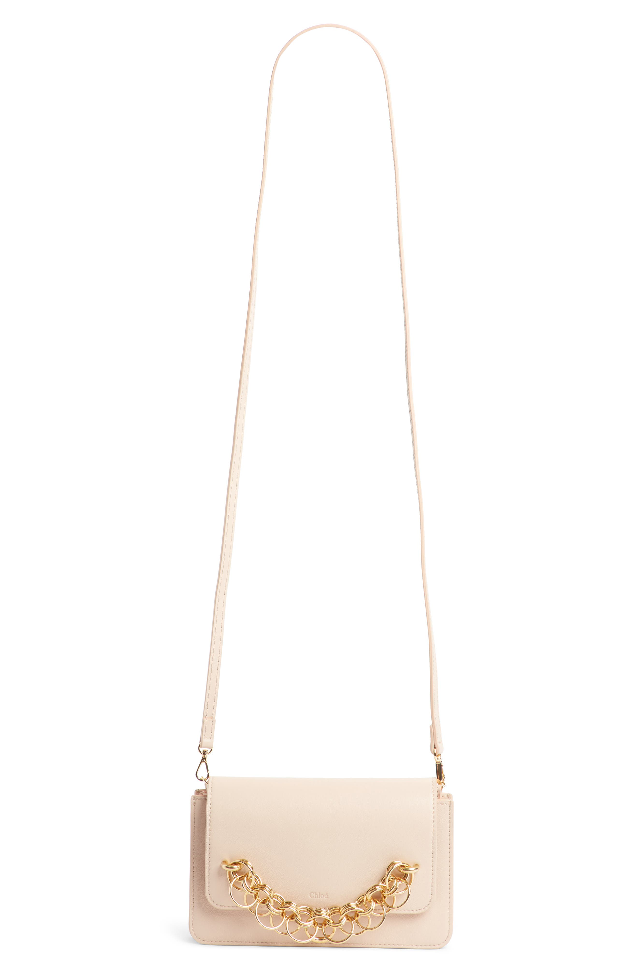 Drew Bijoux Leather Crossbody Bag,                             Main thumbnail 1, color,                             CEMENT PINK