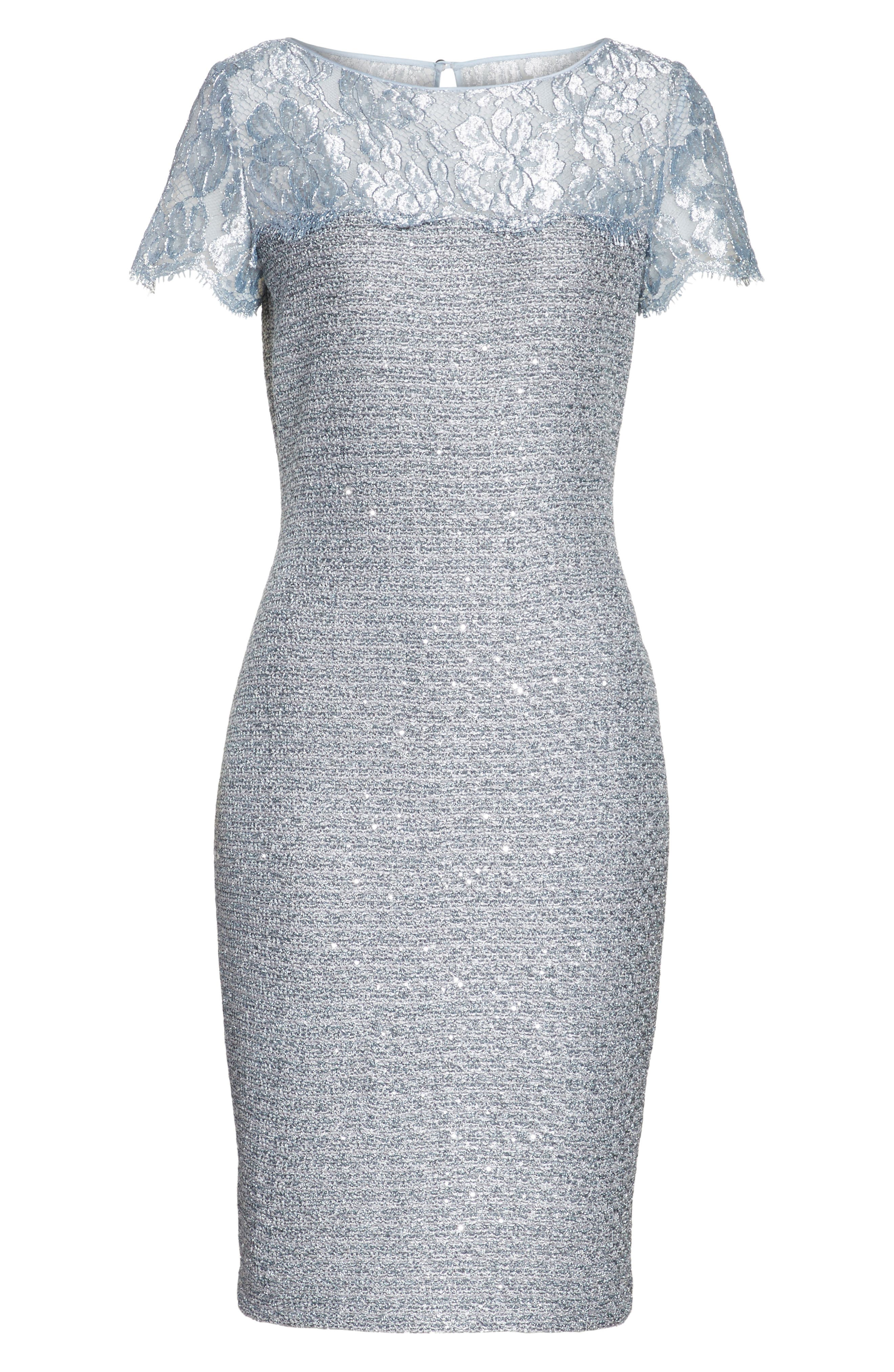 Metallic Sequin Knit Dress,                             Alternate thumbnail 6, color,