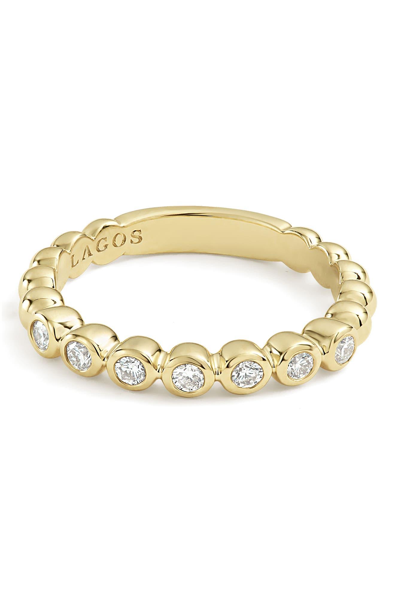 Covet Stone Caviar Stack Ring,                             Alternate thumbnail 7, color,                             GOLD/ DIAMOND