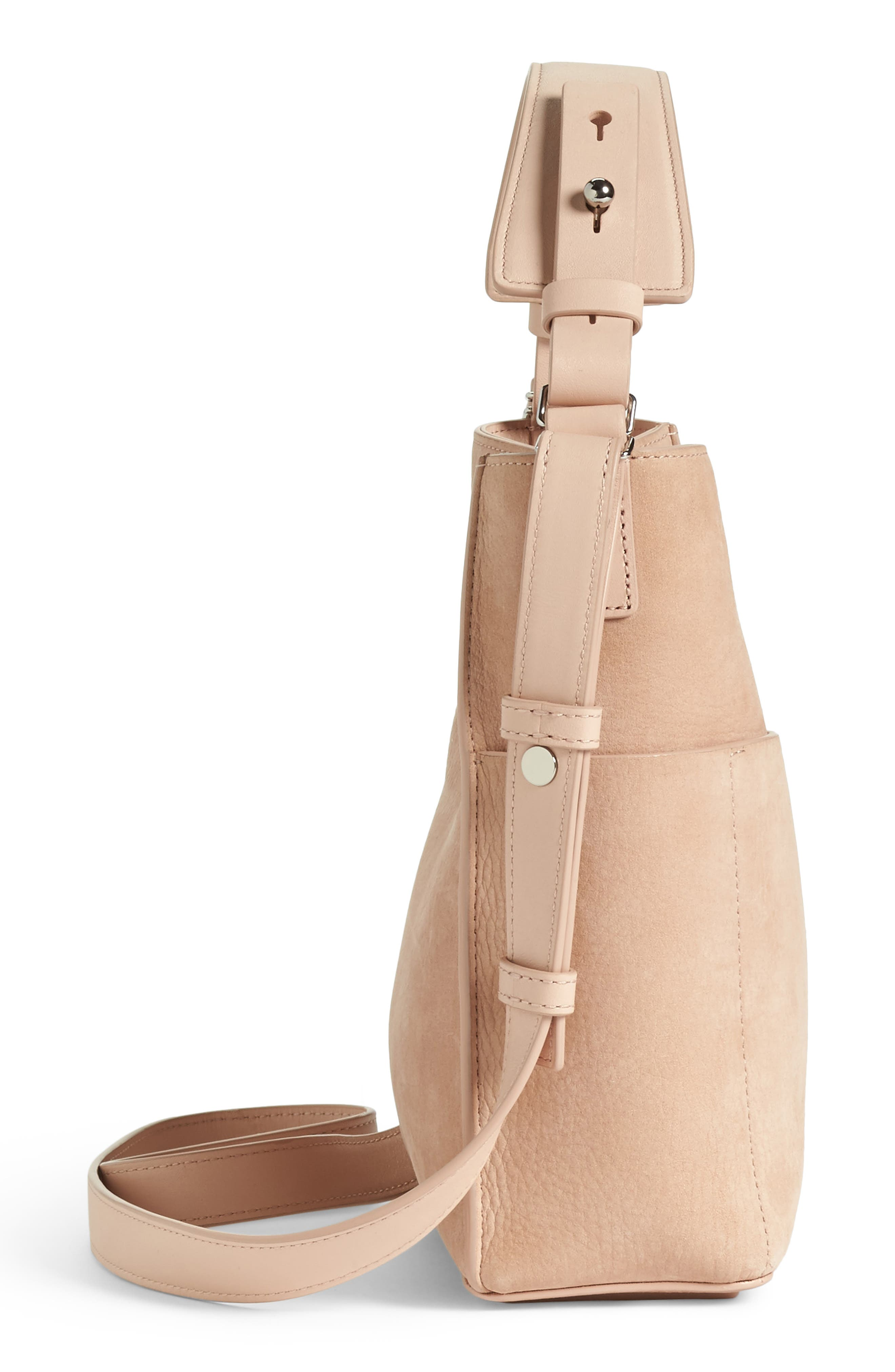 Mini Mast Leather North/South Tote,                             Alternate thumbnail 6, color,                             NUDE PINK
