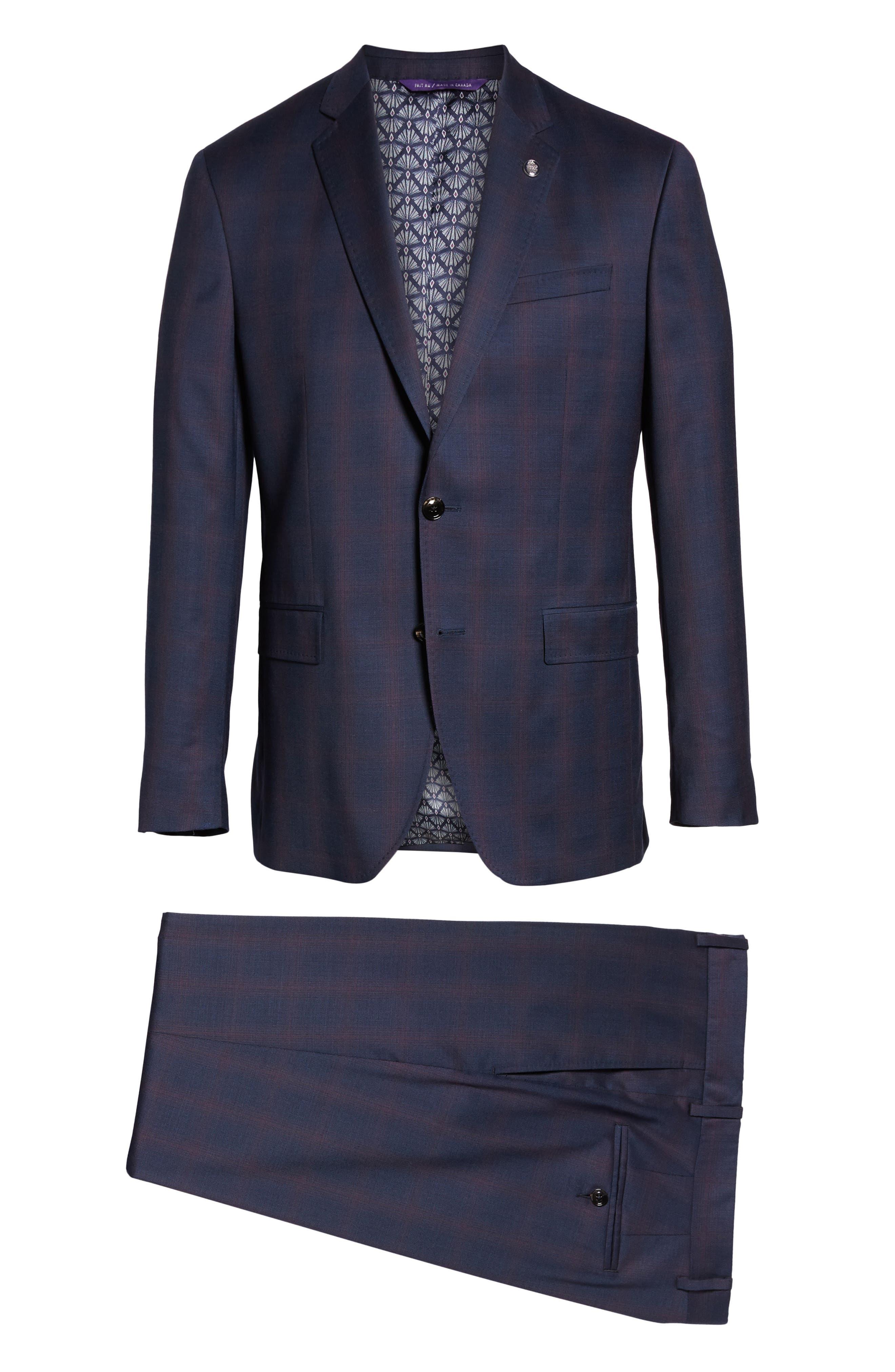 TED BAKER LONDON,                             Roger Slim Fit Plaid Wool Suit,                             Alternate thumbnail 8, color,                             NAVY