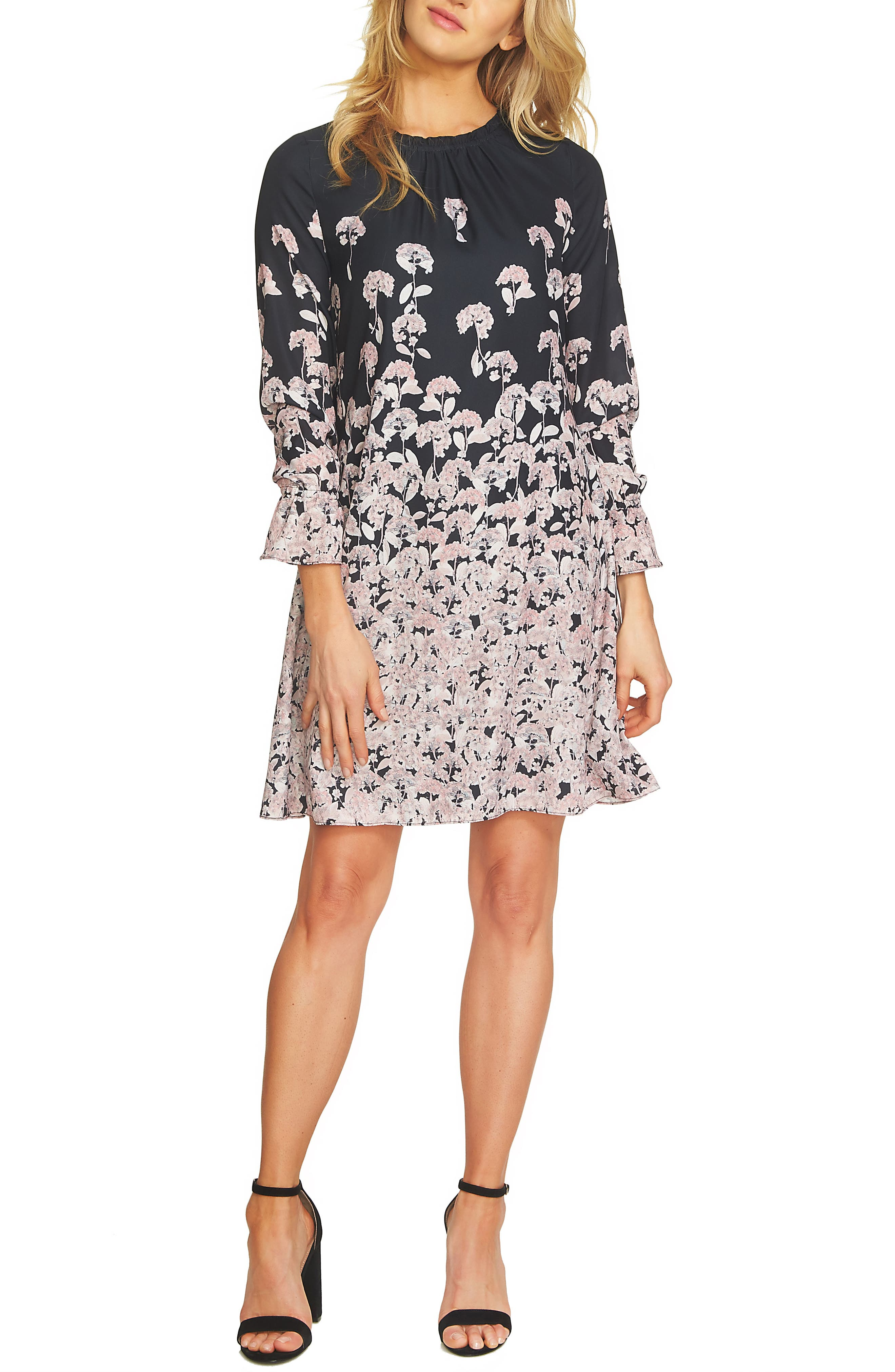 Wisteria Fields Border Ruched Shift Dress,                         Main,                         color, 010