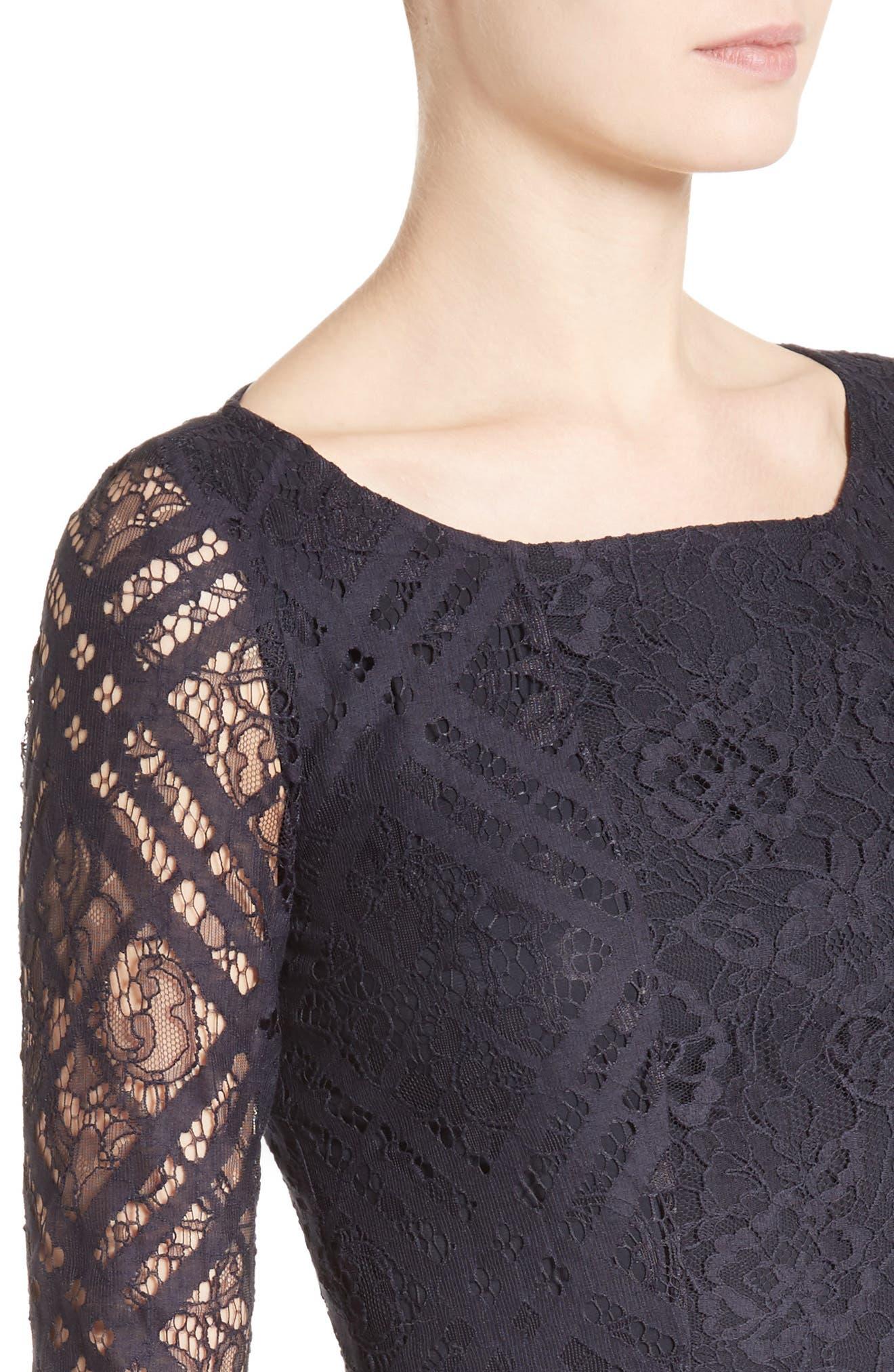 Liliana Lace Fit & Flare Dress,                             Alternate thumbnail 4, color,                             410