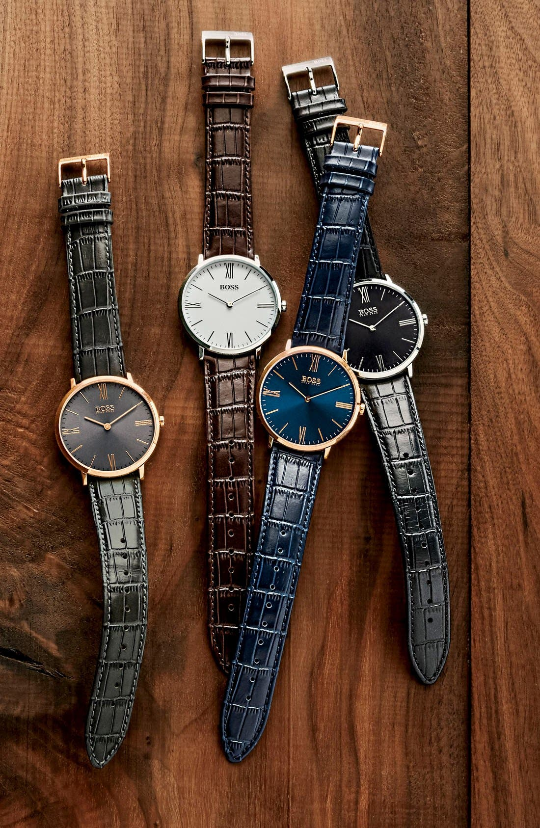 Ultra Slim Leather Strap Watch, 40mm,                             Alternate thumbnail 6, color,                             001
