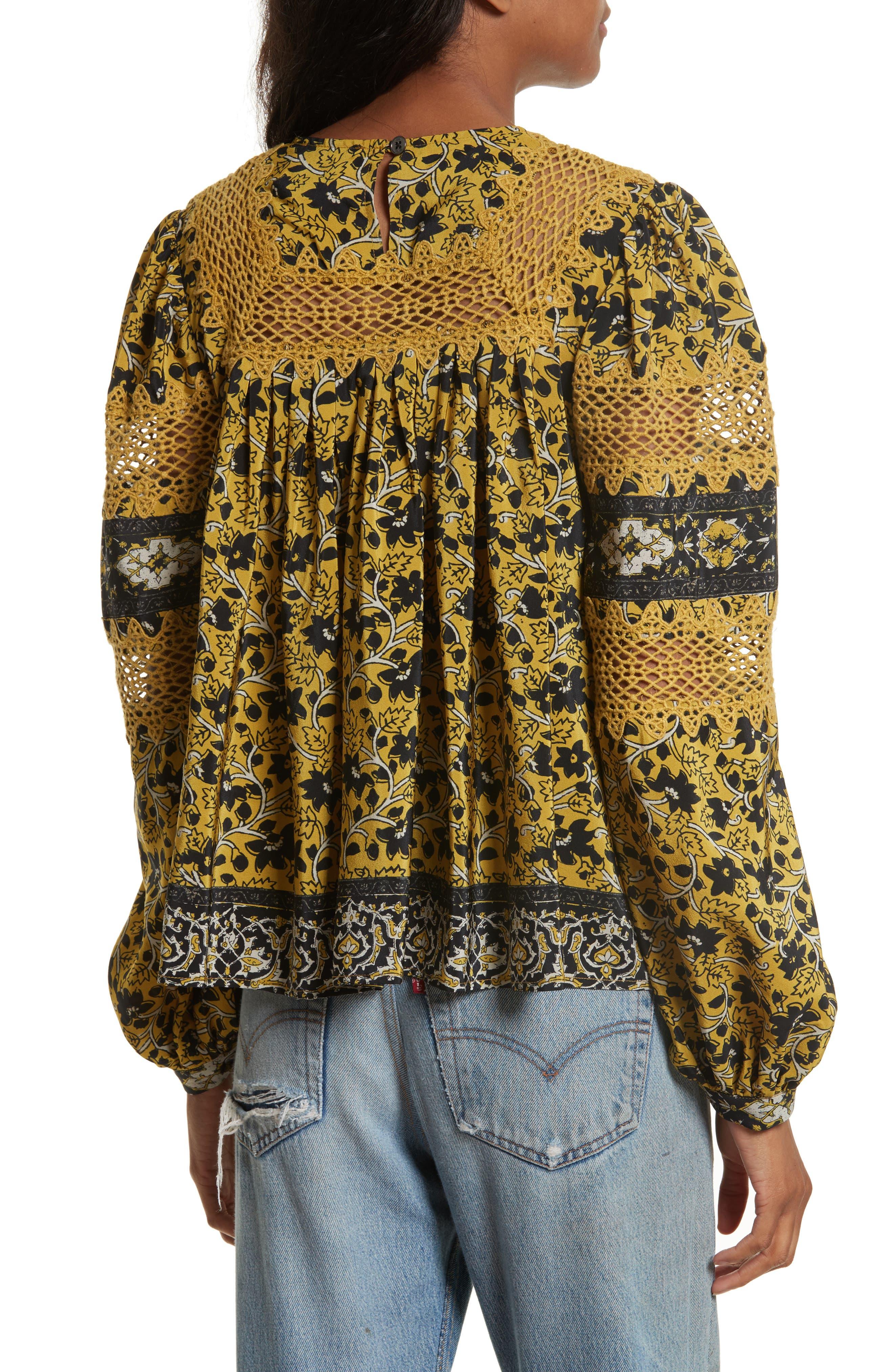 Lace Bib Print Silk Blouse,                             Alternate thumbnail 2, color,                             700