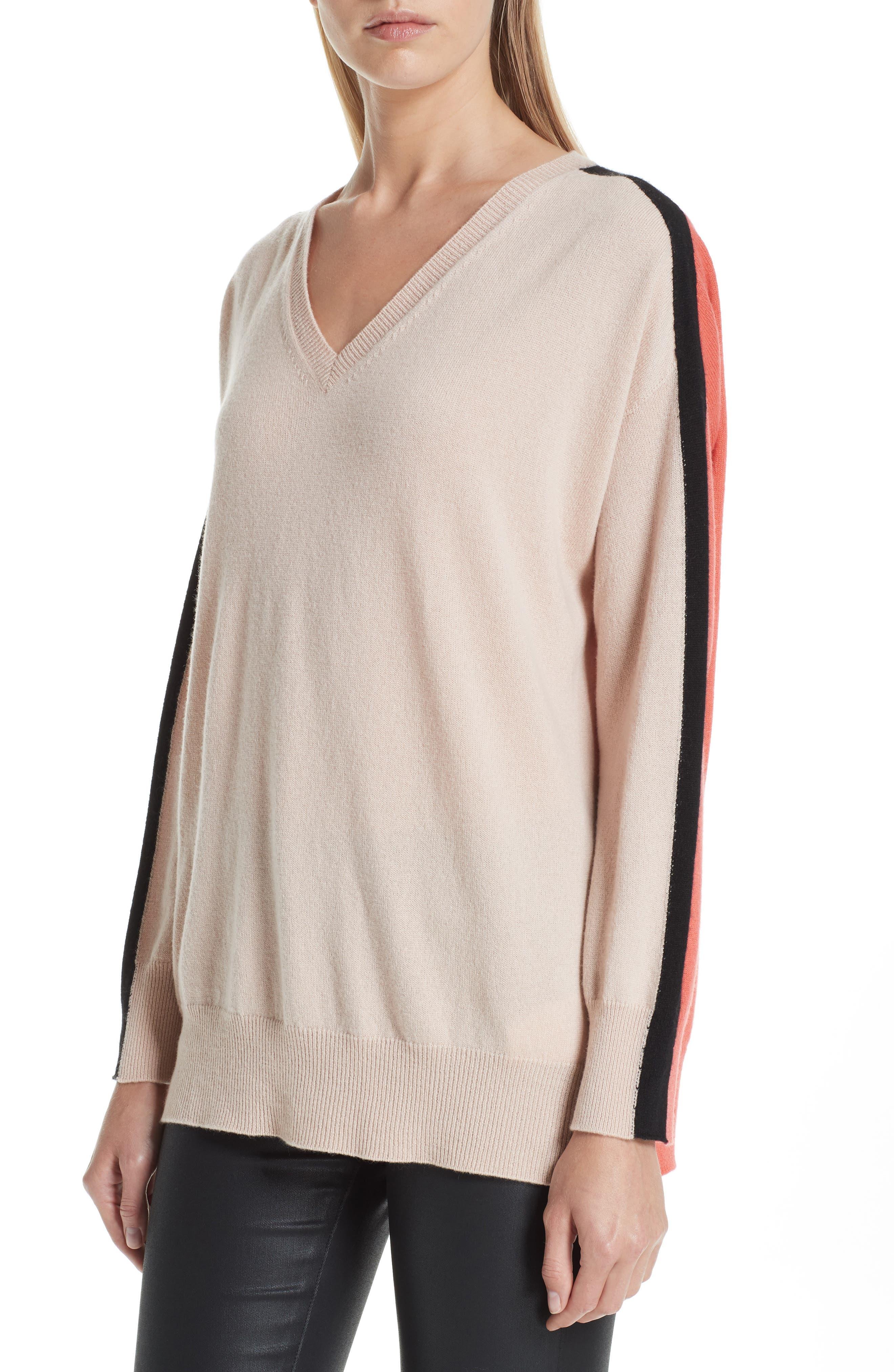 Stripe V-Neck Cashmere Sweater,                             Alternate thumbnail 4, color,                             ROSA NATURALE