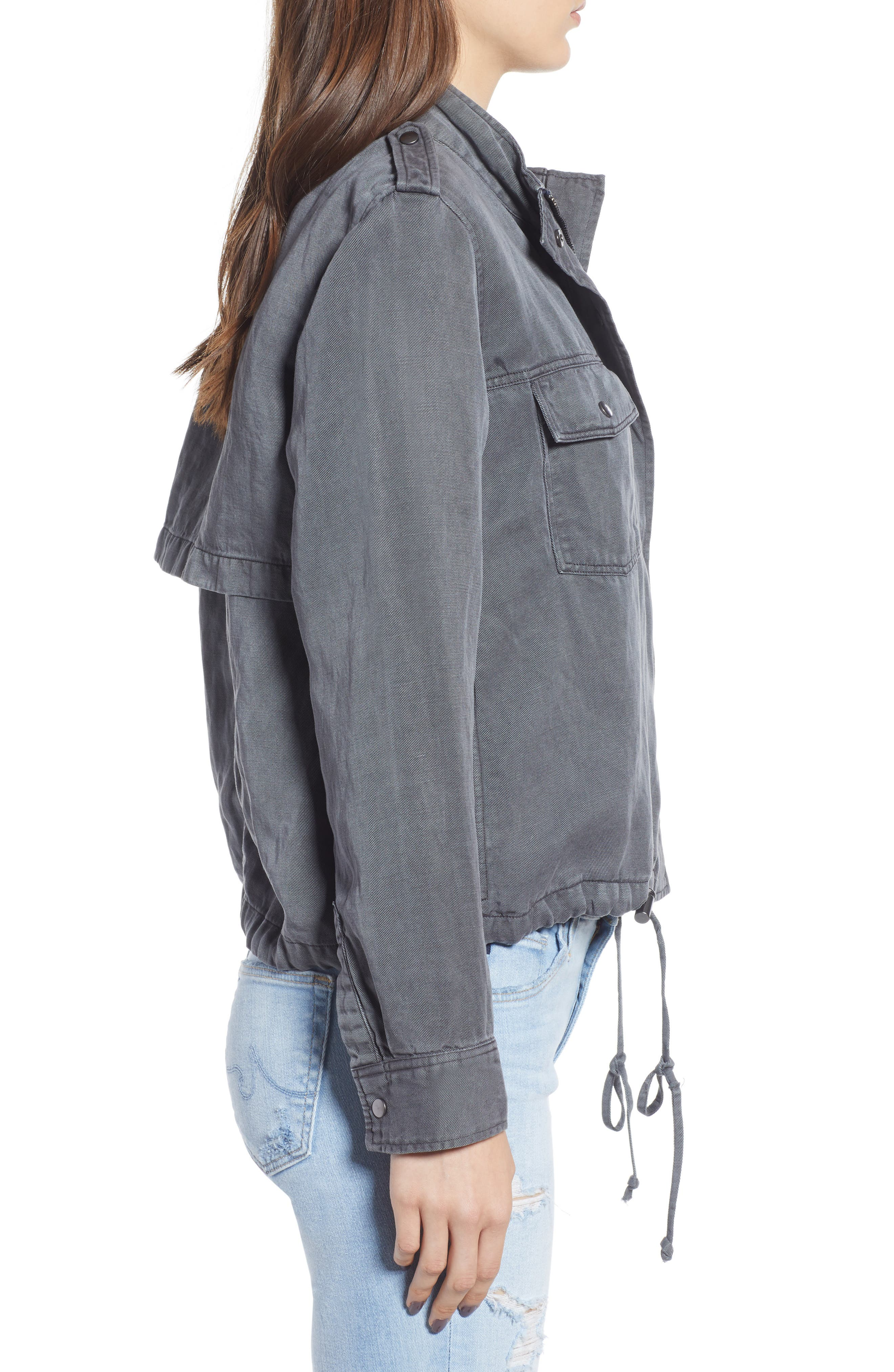 Collins Military Jacket,                             Alternate thumbnail 3, color,                             LIGHT CHARCOAL