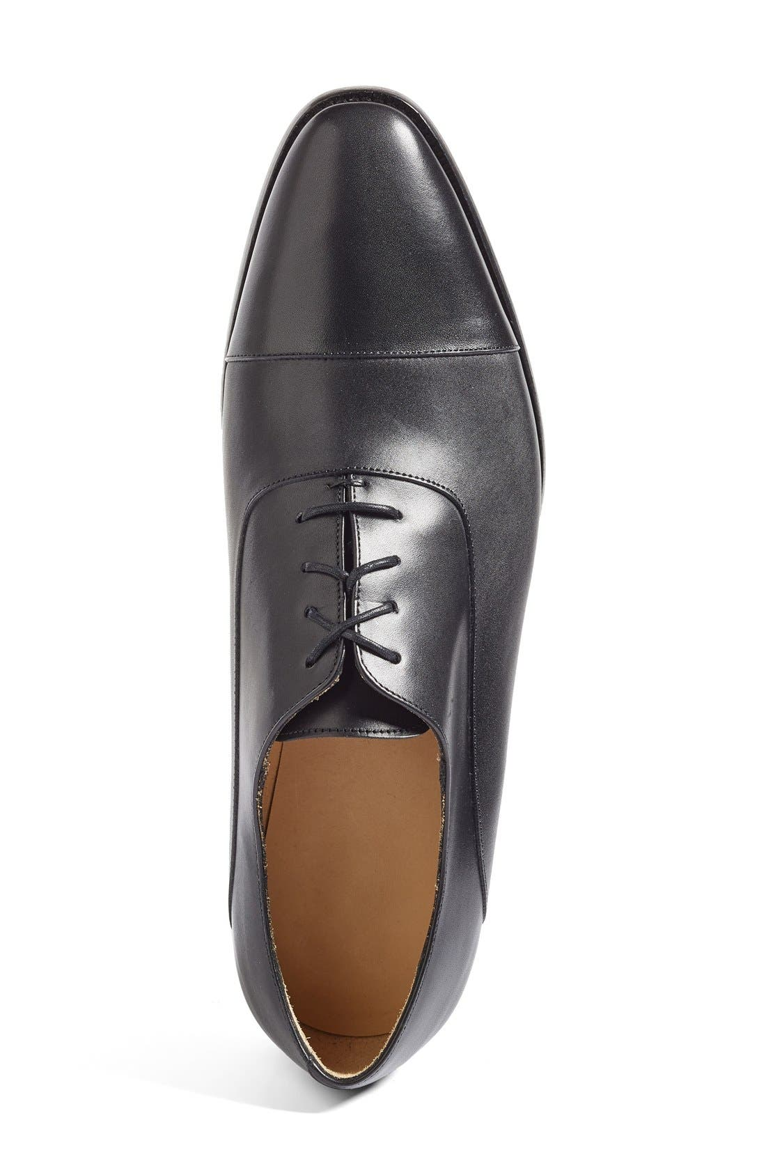 Joe Cap Toe Oxford,                             Alternate thumbnail 3, color,                             BLACK LEATHER