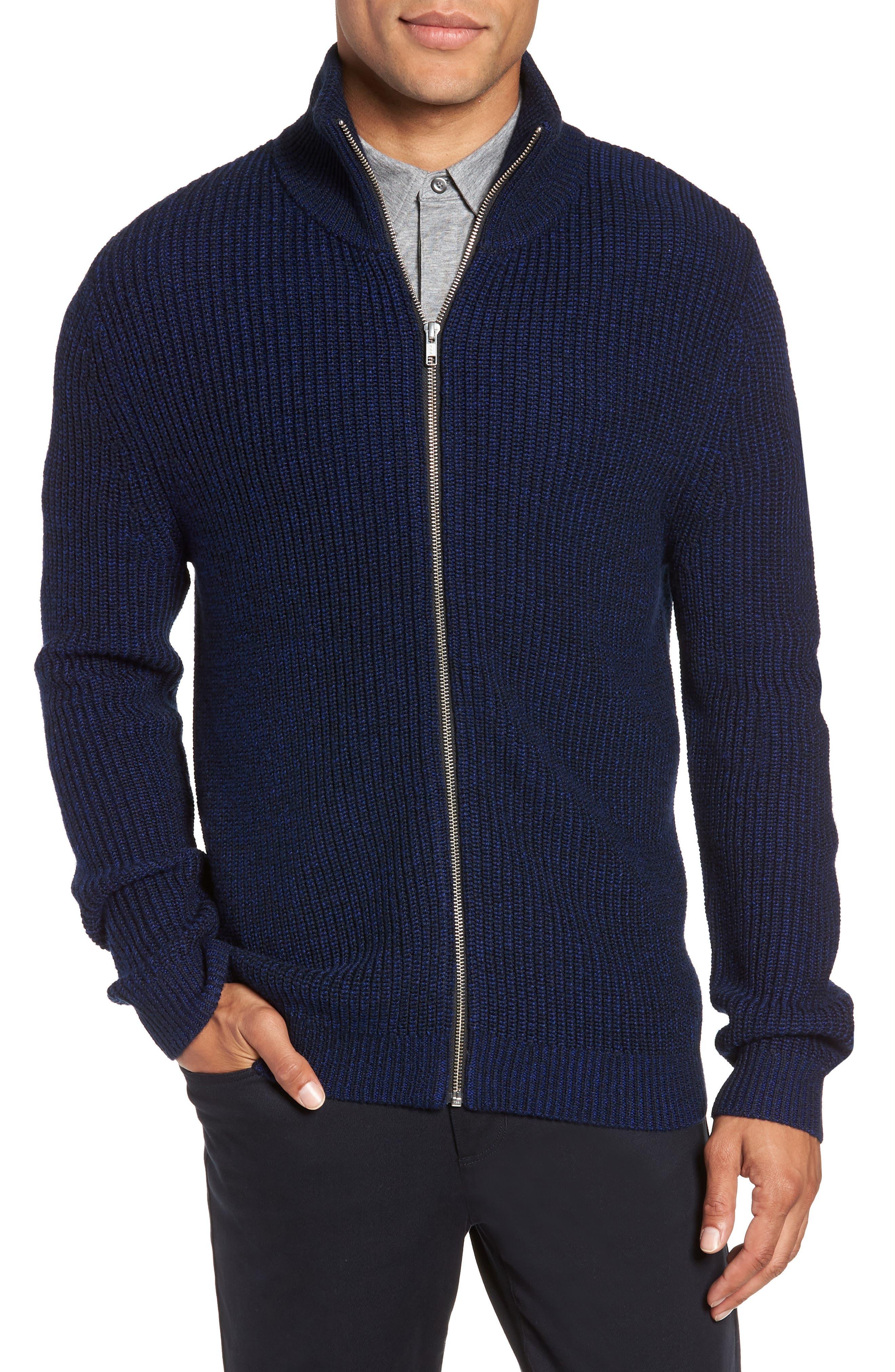 Calibrate Rib Knit Zip Sweater, Blue