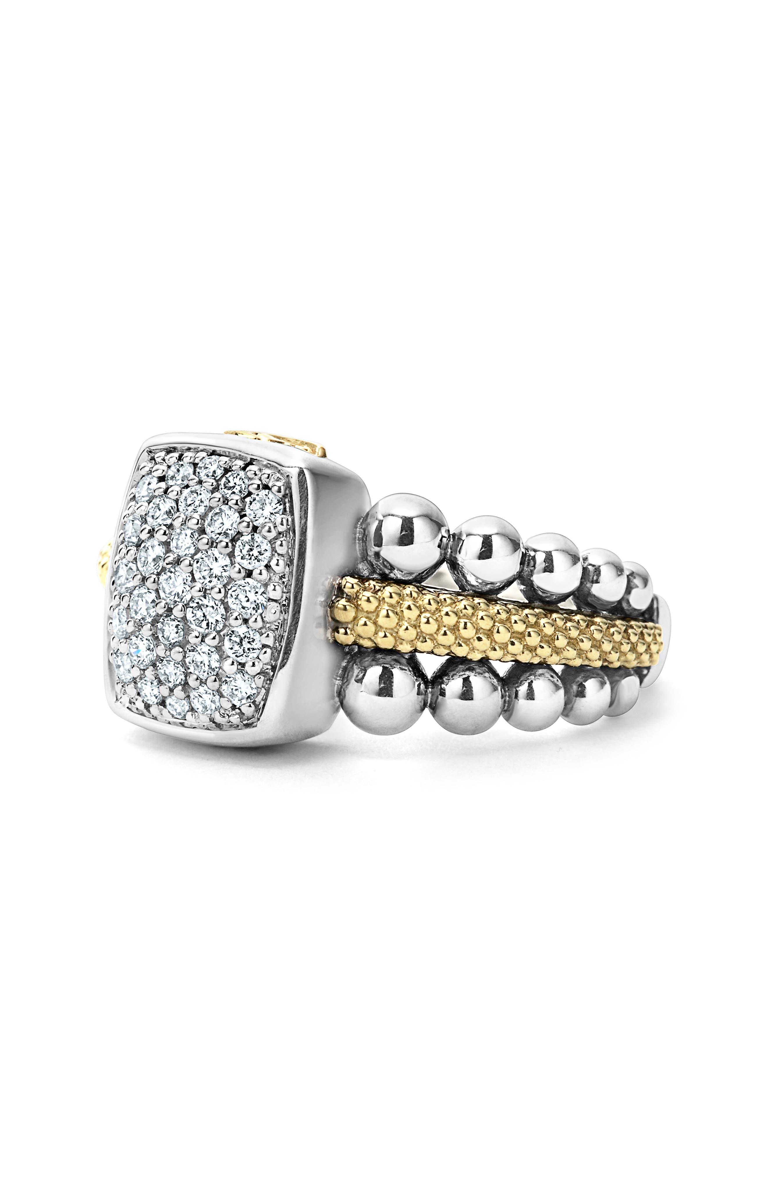 Diamond Caviar Square Ring,                             Alternate thumbnail 5, color,                             040