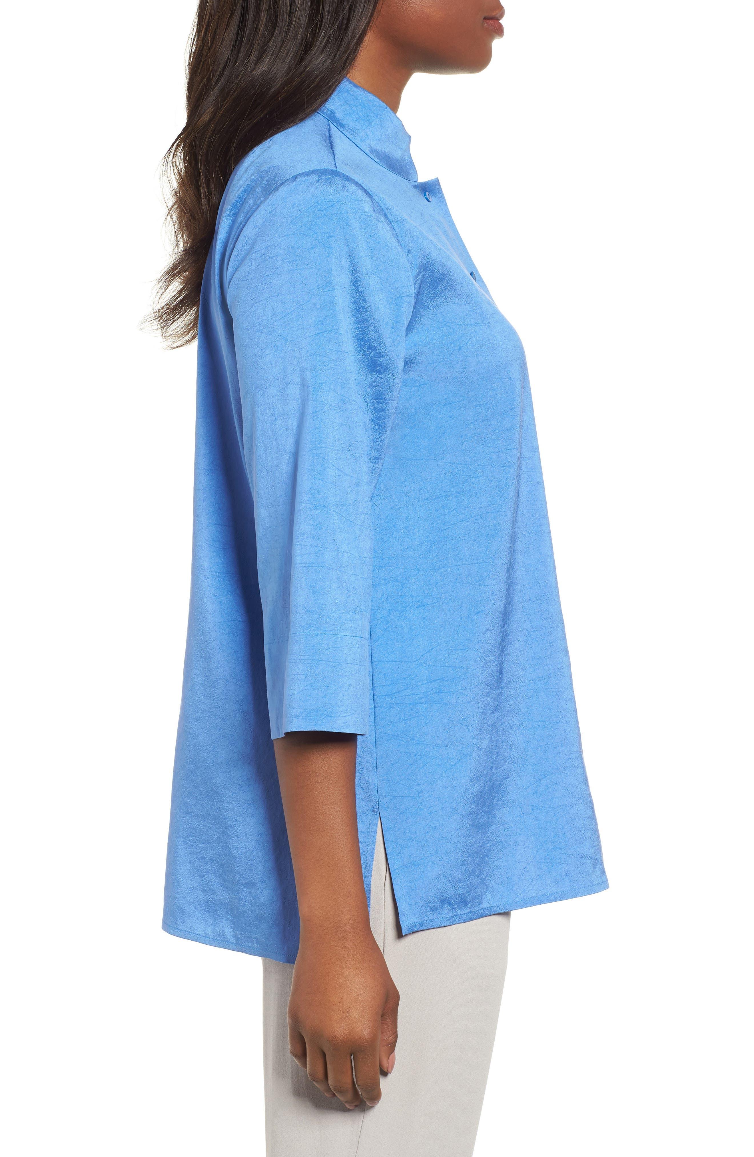Crinkled Satin Silk Shirt,                             Alternate thumbnail 3, color,                             405