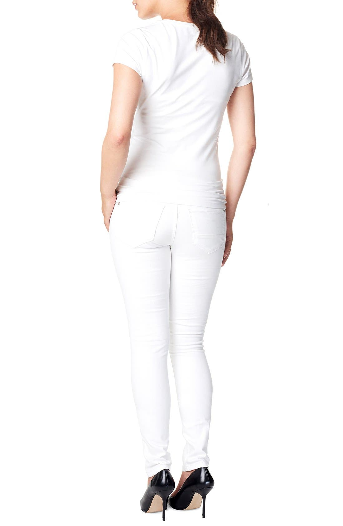 'Leah' Over the Belly Slim Maternity Jeans,                             Alternate thumbnail 2, color,                             WHITE
