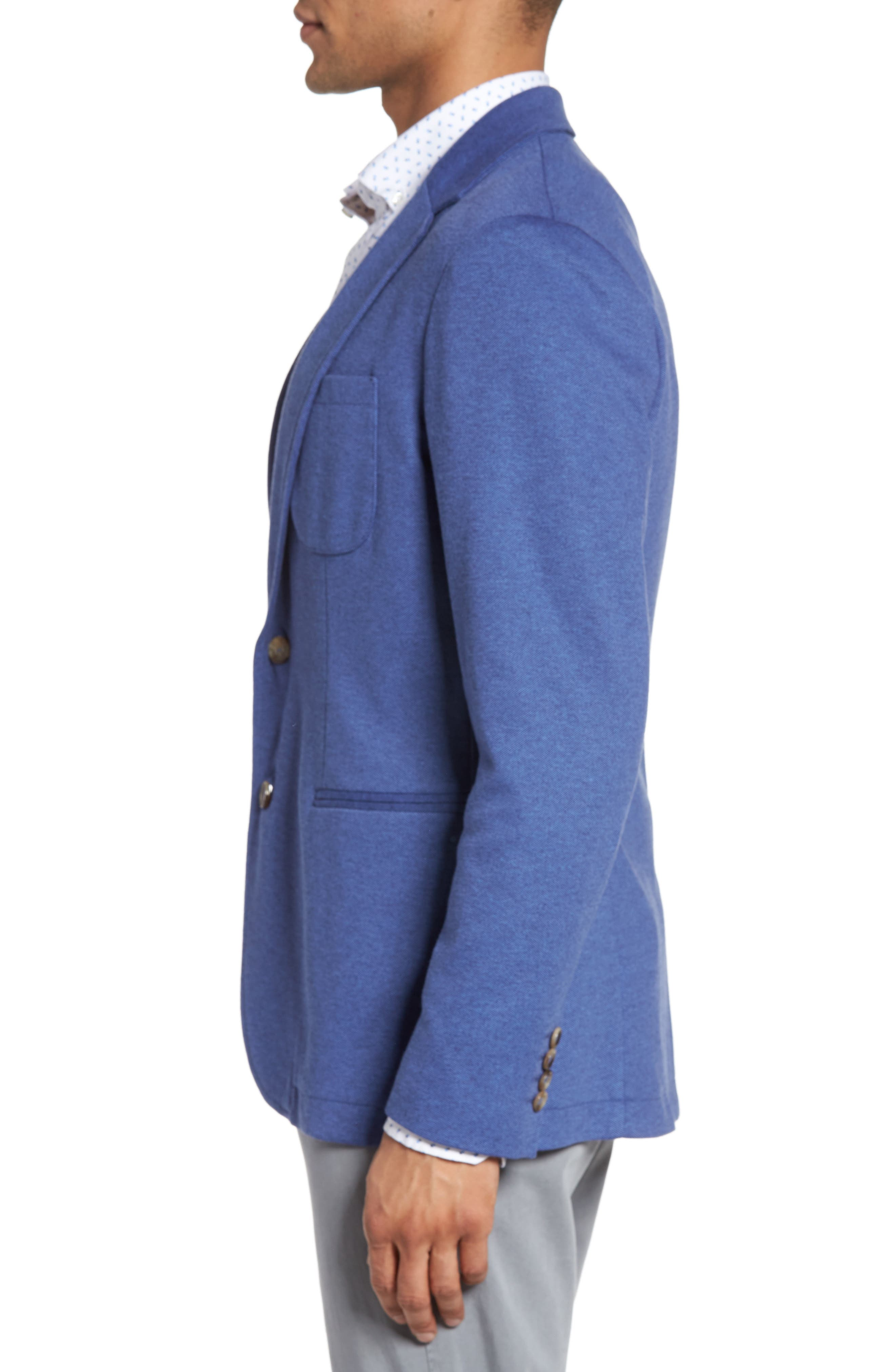 Two-Button Knit Sport Coat,                             Alternate thumbnail 3, color,                             BLUE