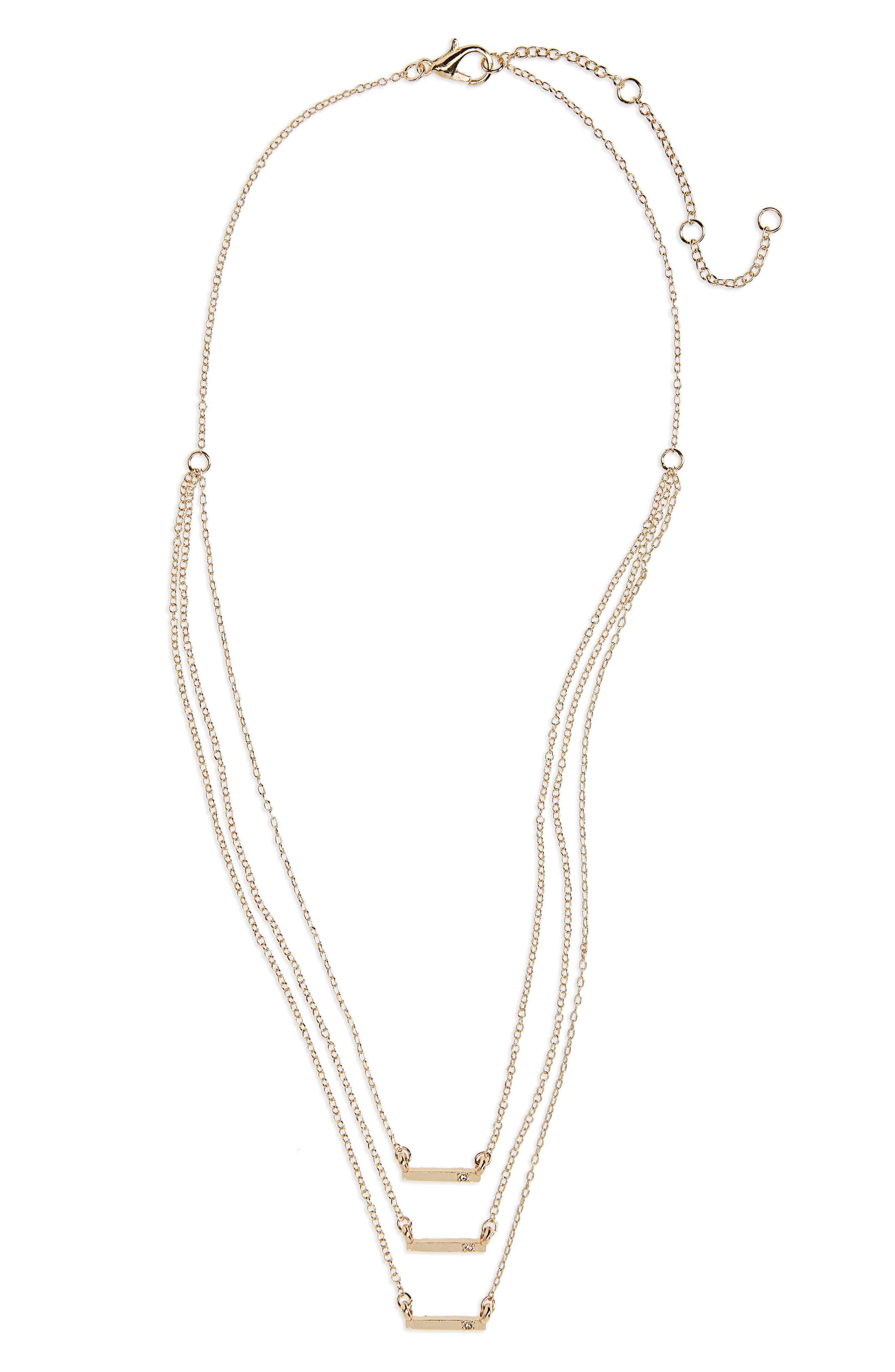 Delicate Bar & Crystal Triple Layer Necklace,                             Main thumbnail 2, color,