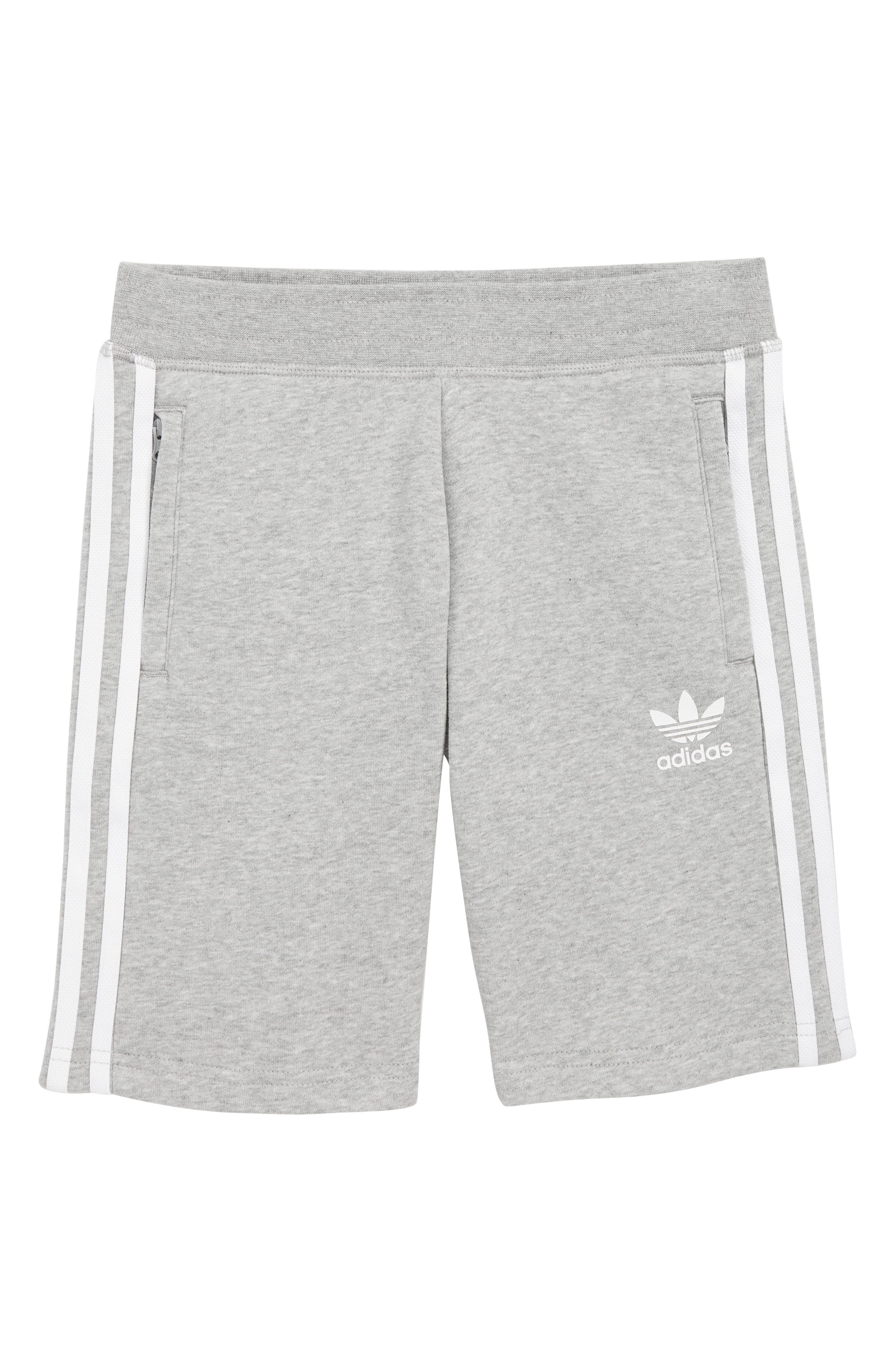 3-Stripes Sweat Shorts,                             Main thumbnail 1, color,                             MEDIUM GREY HEATHER/ WHITE