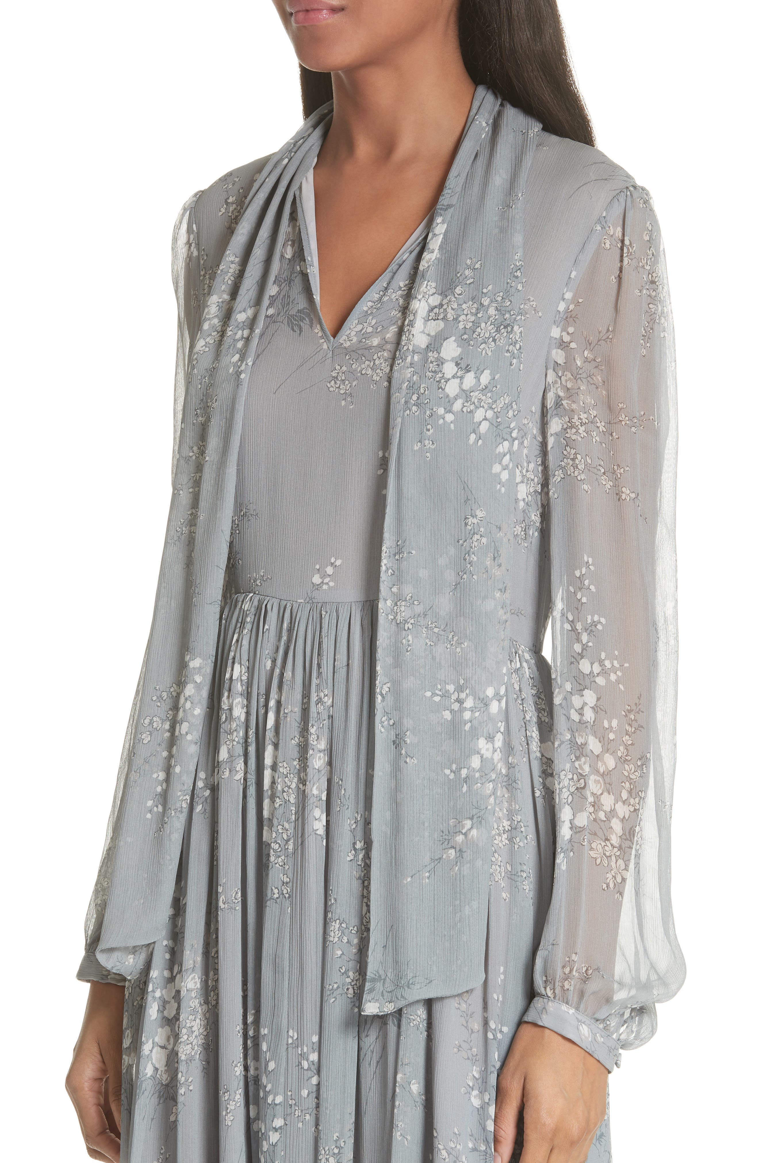 Floral Print Crinkle Chiffon Tie Neck Dress,                             Alternate thumbnail 4, color,                             GREY