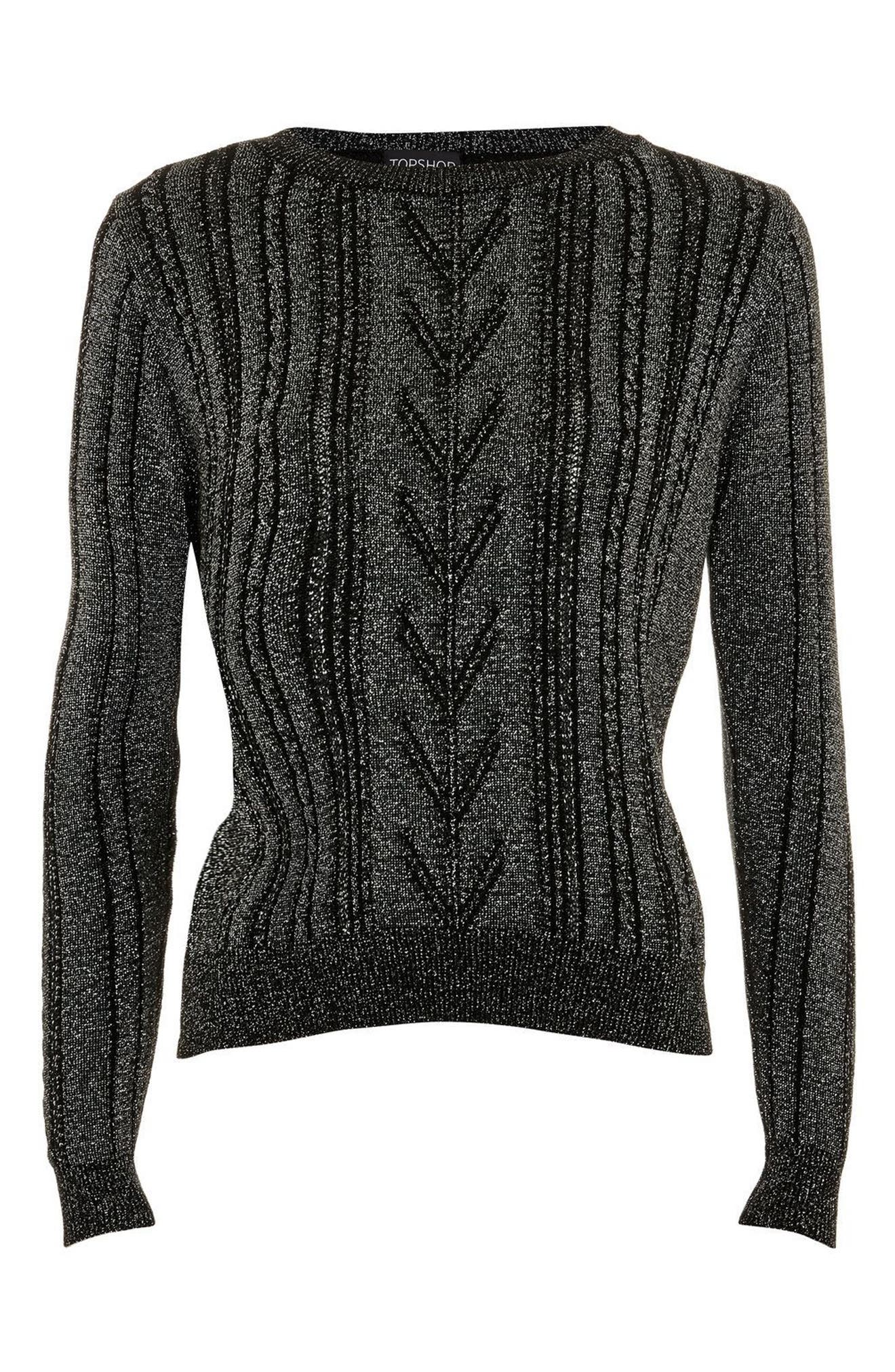 Metallic Cable Knit Sweater,                             Alternate thumbnail 2, color,