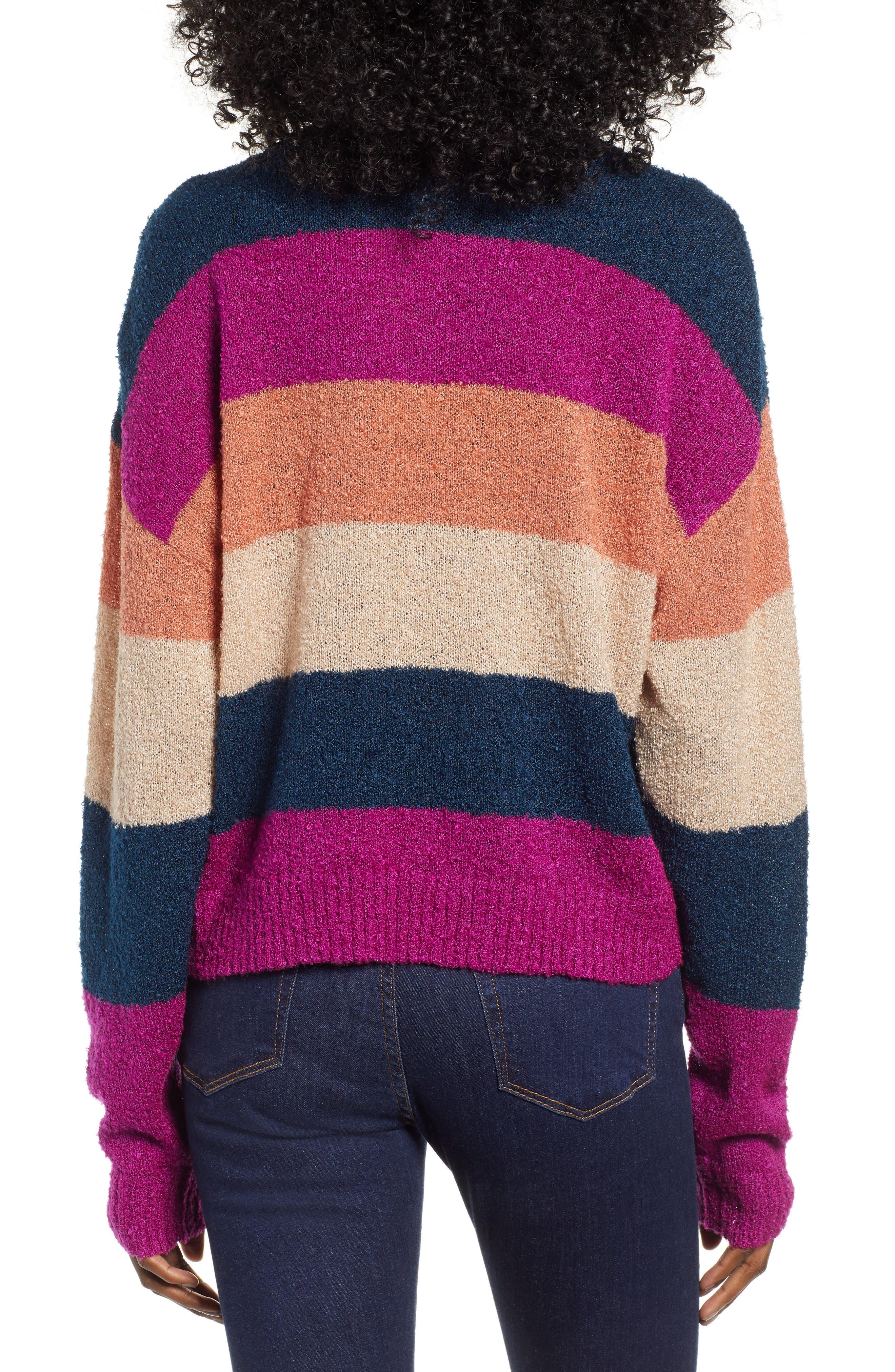 BP.,                             Stripe Bouclé Sweater,                             Alternate thumbnail 2, color,                             420