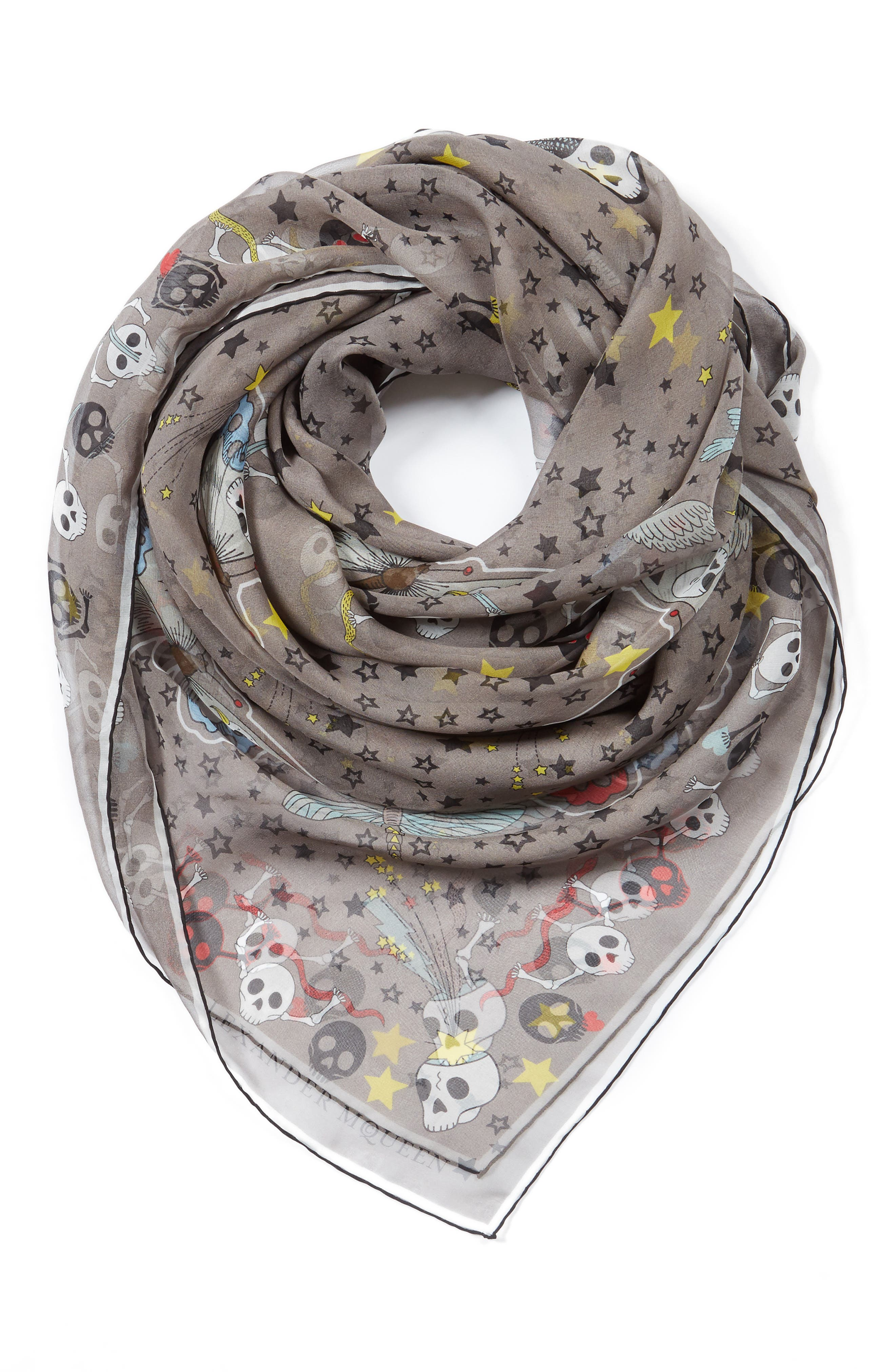 Party Skull Silk Scarf,                             Alternate thumbnail 3, color,                             020