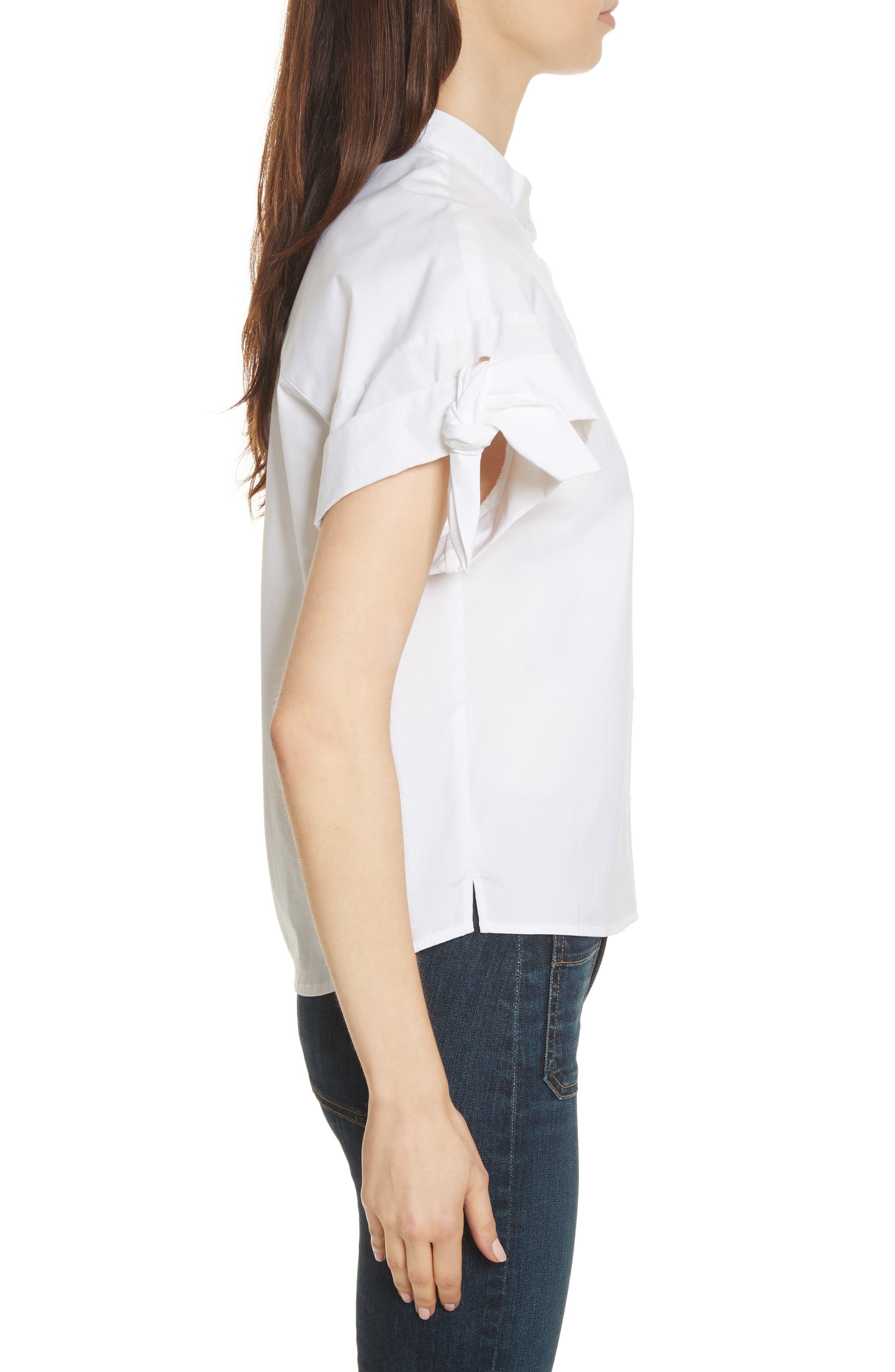 Sanaa Stretch Cotton Shirt,                             Alternate thumbnail 3, color,                             100
