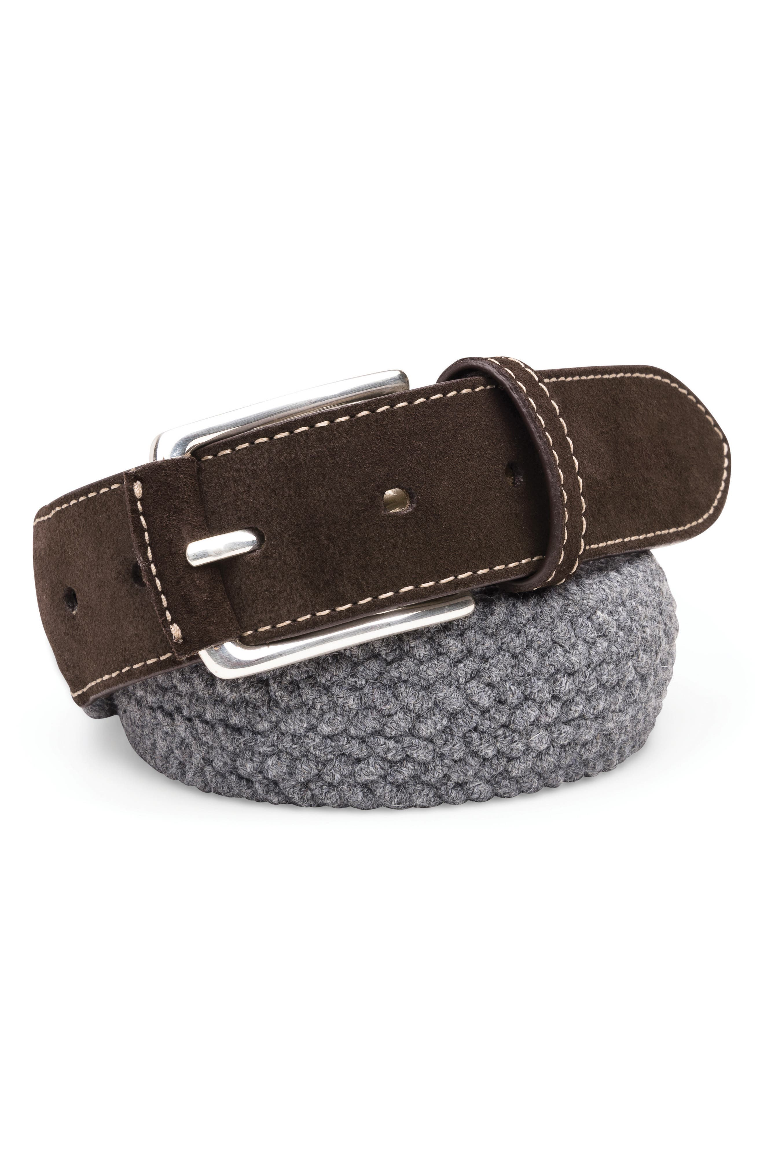 Braided Wool Belt,                             Main thumbnail 1, color,                             FLANNEL