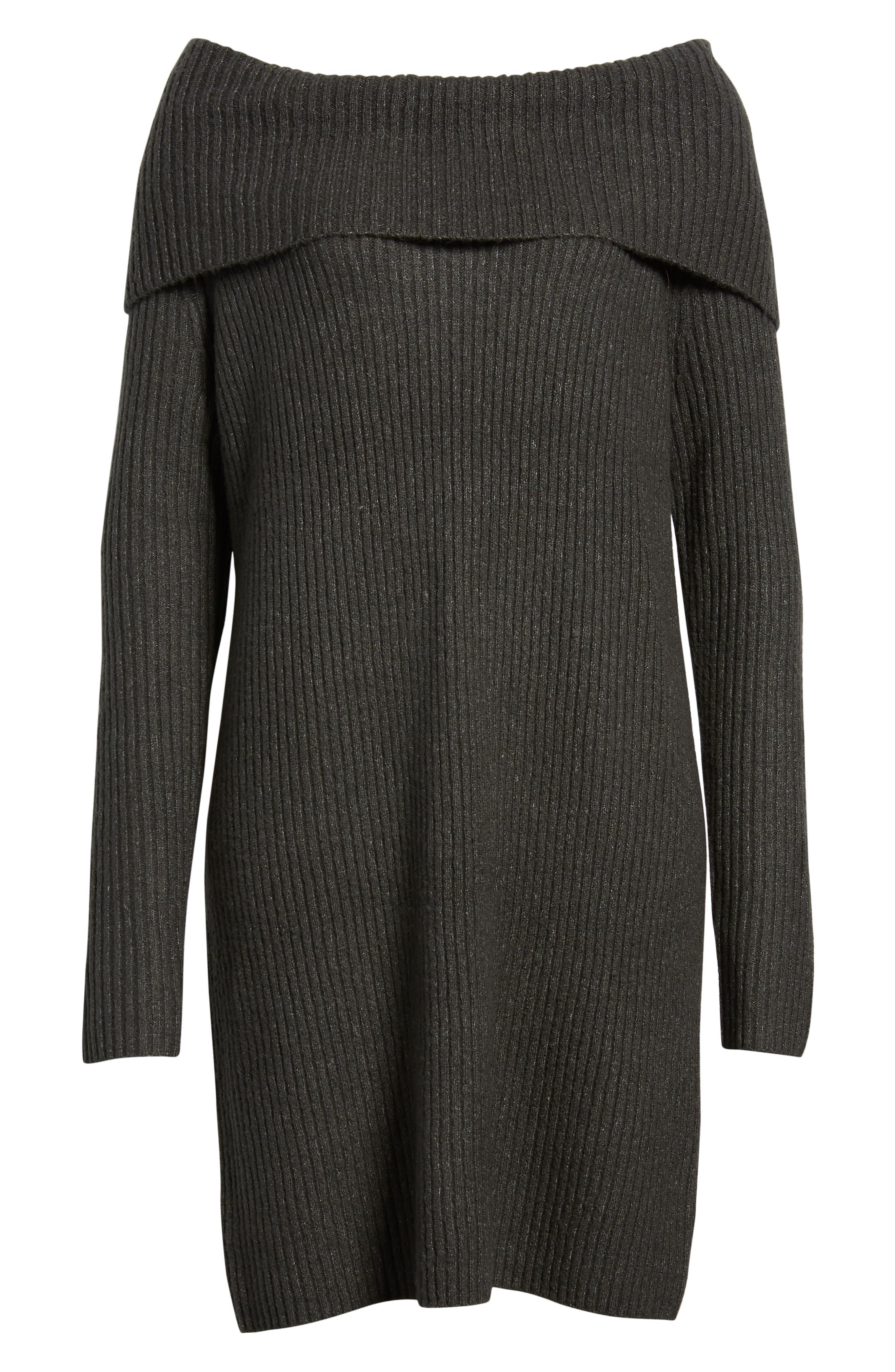 Halogen Cowl Neck Sweater Dress, Grey