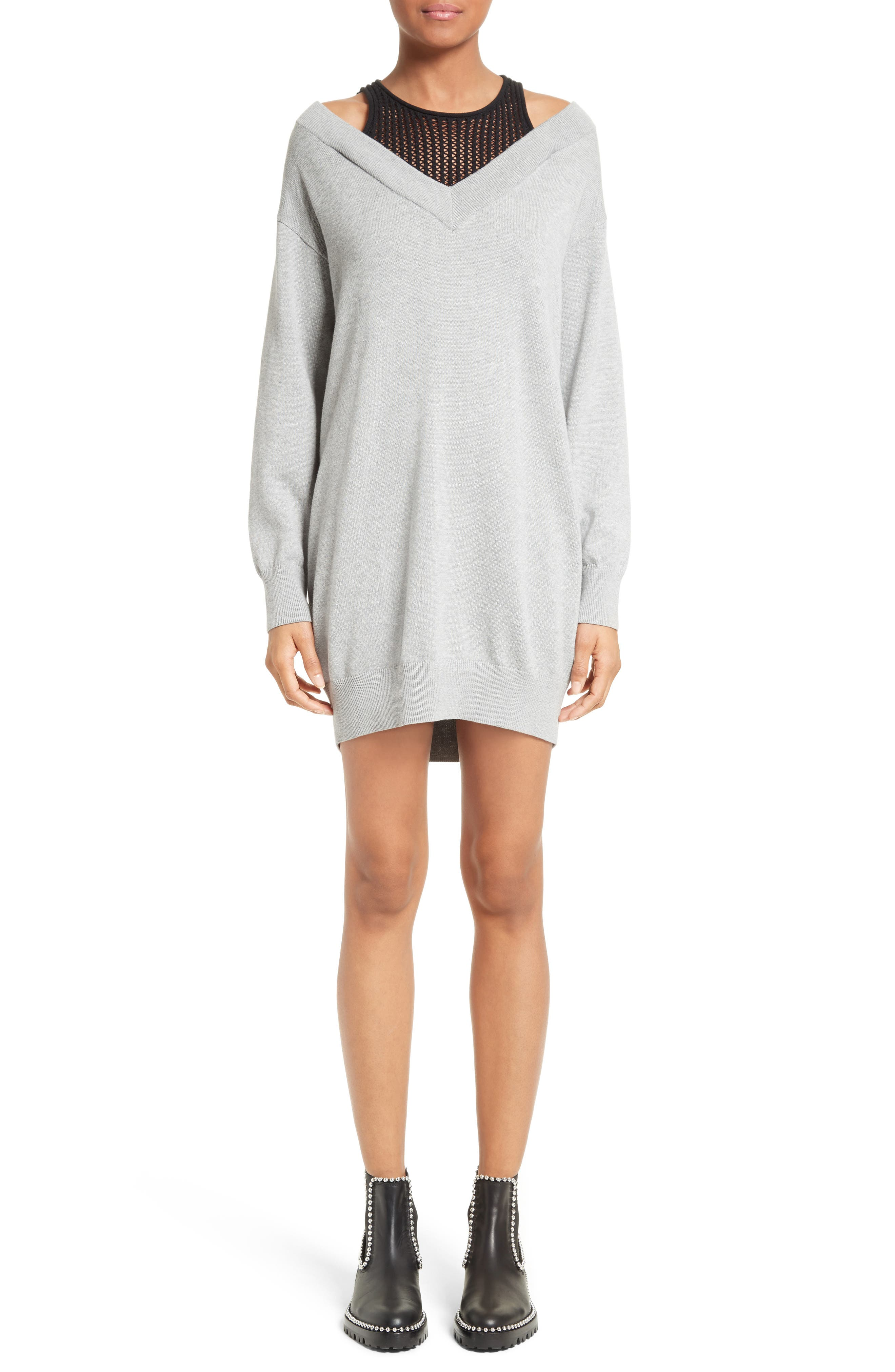 Knit Sweater Dress with Inner Tank,                             Main thumbnail 1, color,