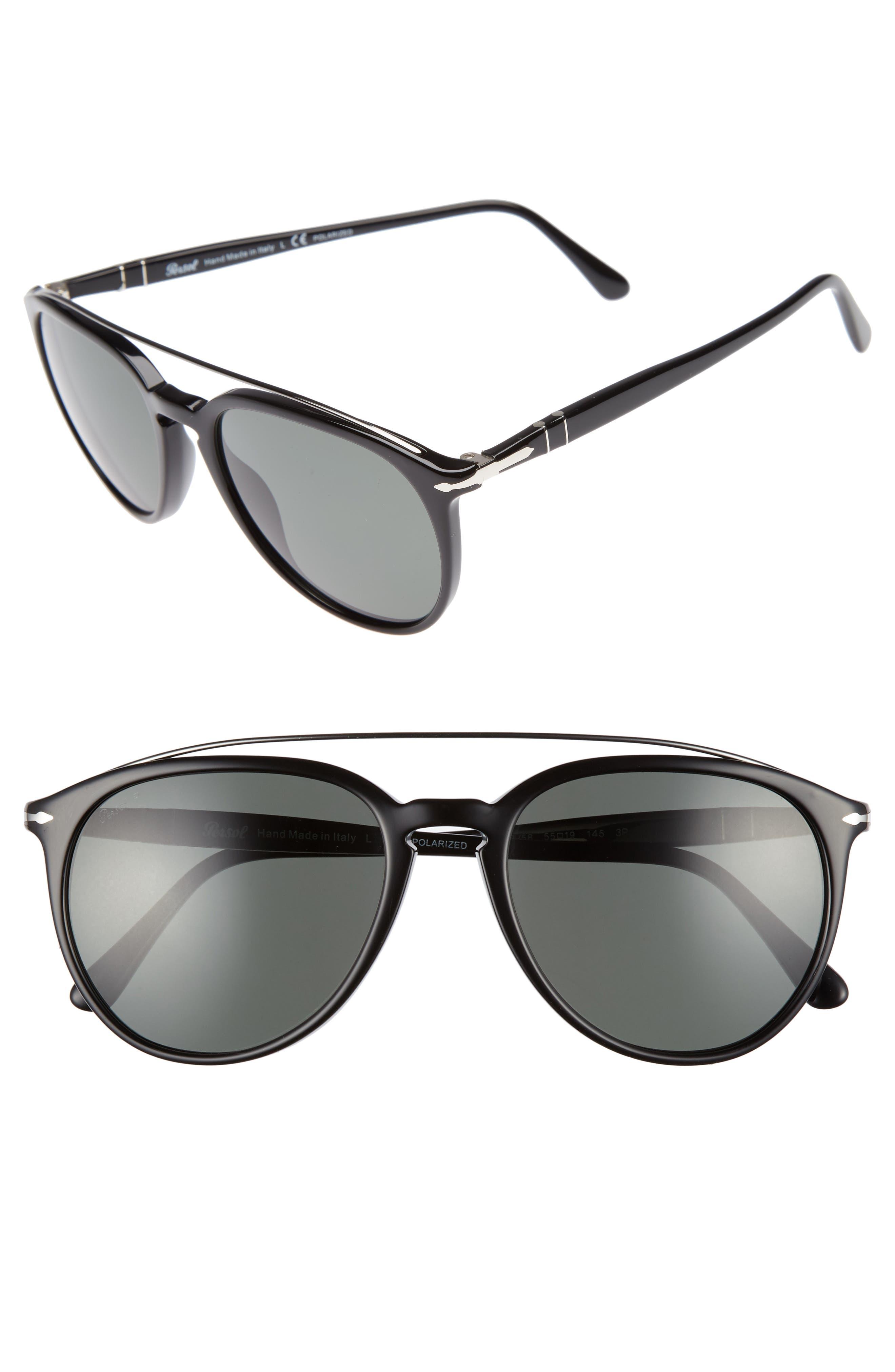 Sartoria 55mm Polarized Sunglasses,                             Main thumbnail 1, color,                             BLACK/ GREEN