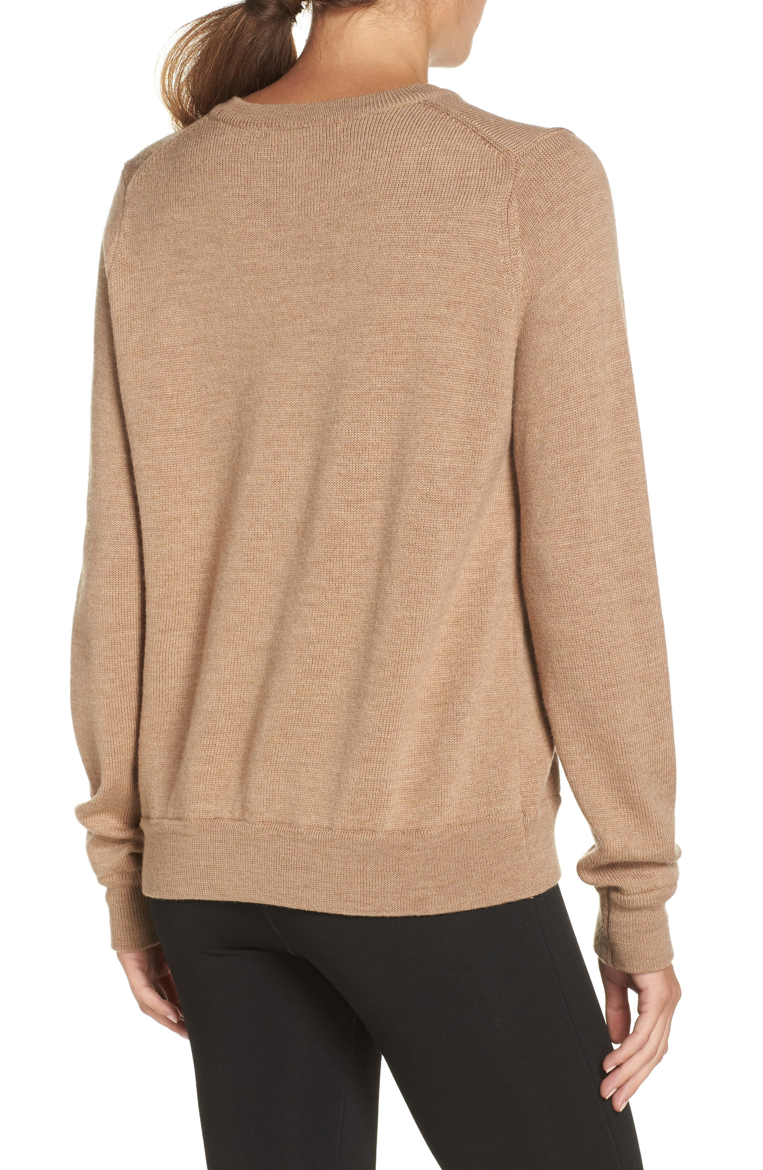 Muster Merino Wool Sweater,                             Alternate thumbnail 2, color,                             CAMEL HEATHER