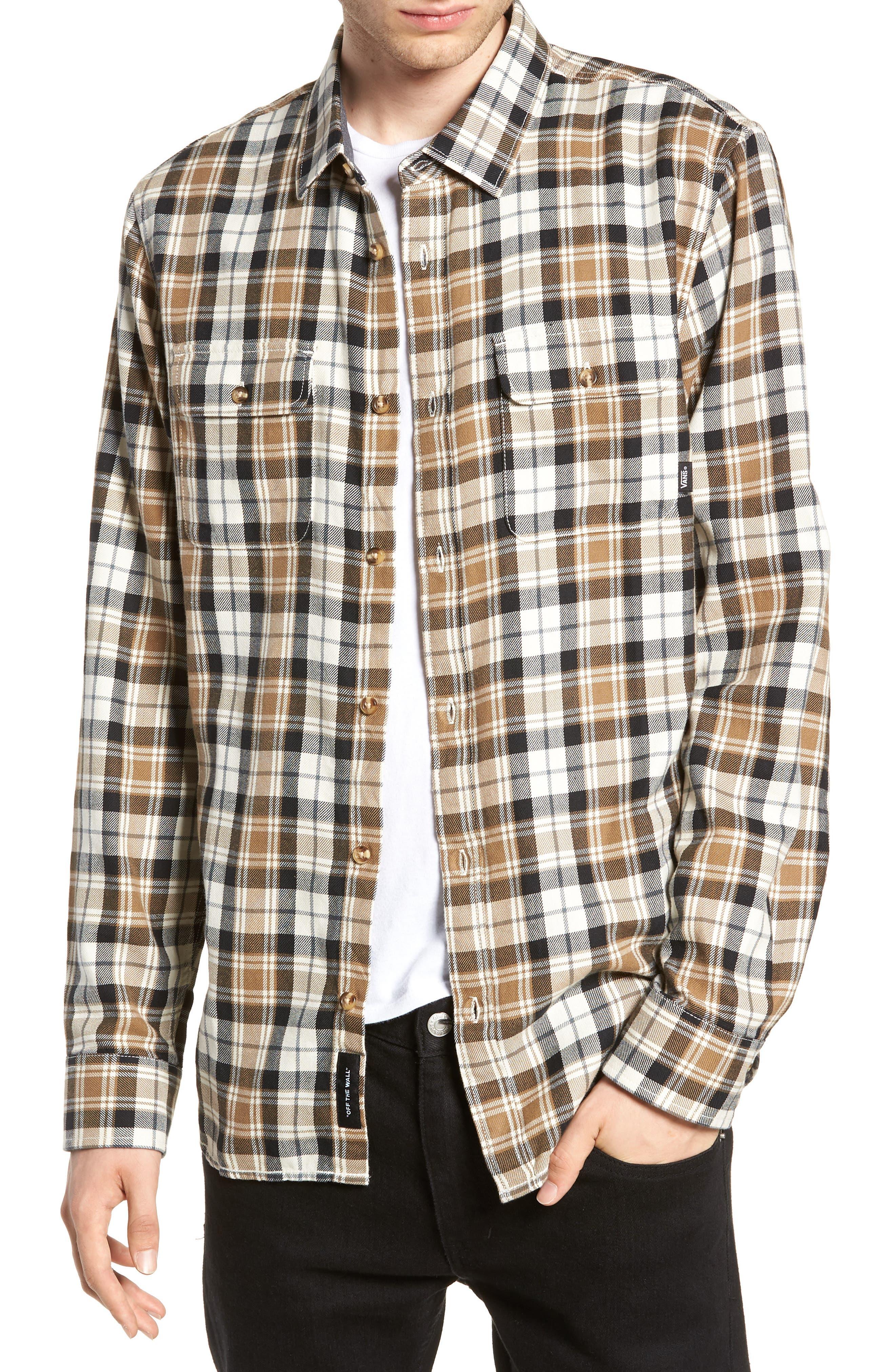 Vans Sycamore Plaid Flannel Sport Shirt, Ivory