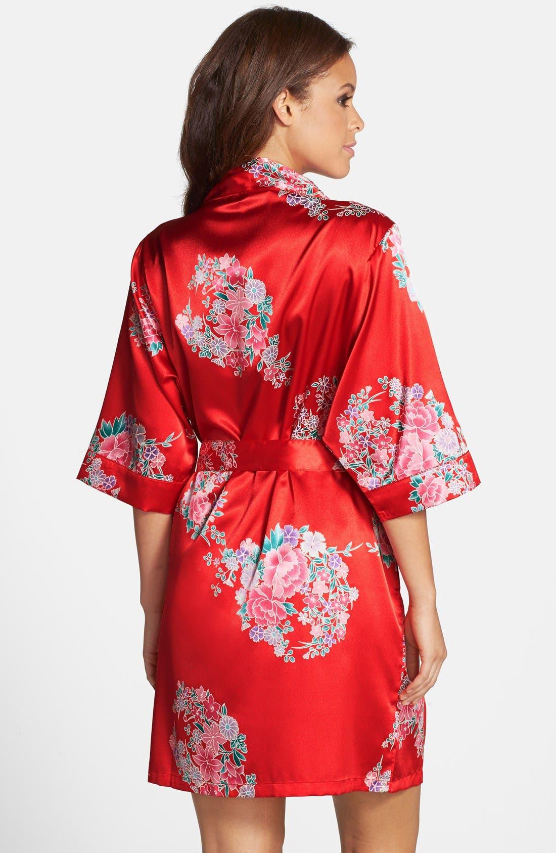 Monogram Floral Satin Robe,                             Alternate thumbnail 146, color,