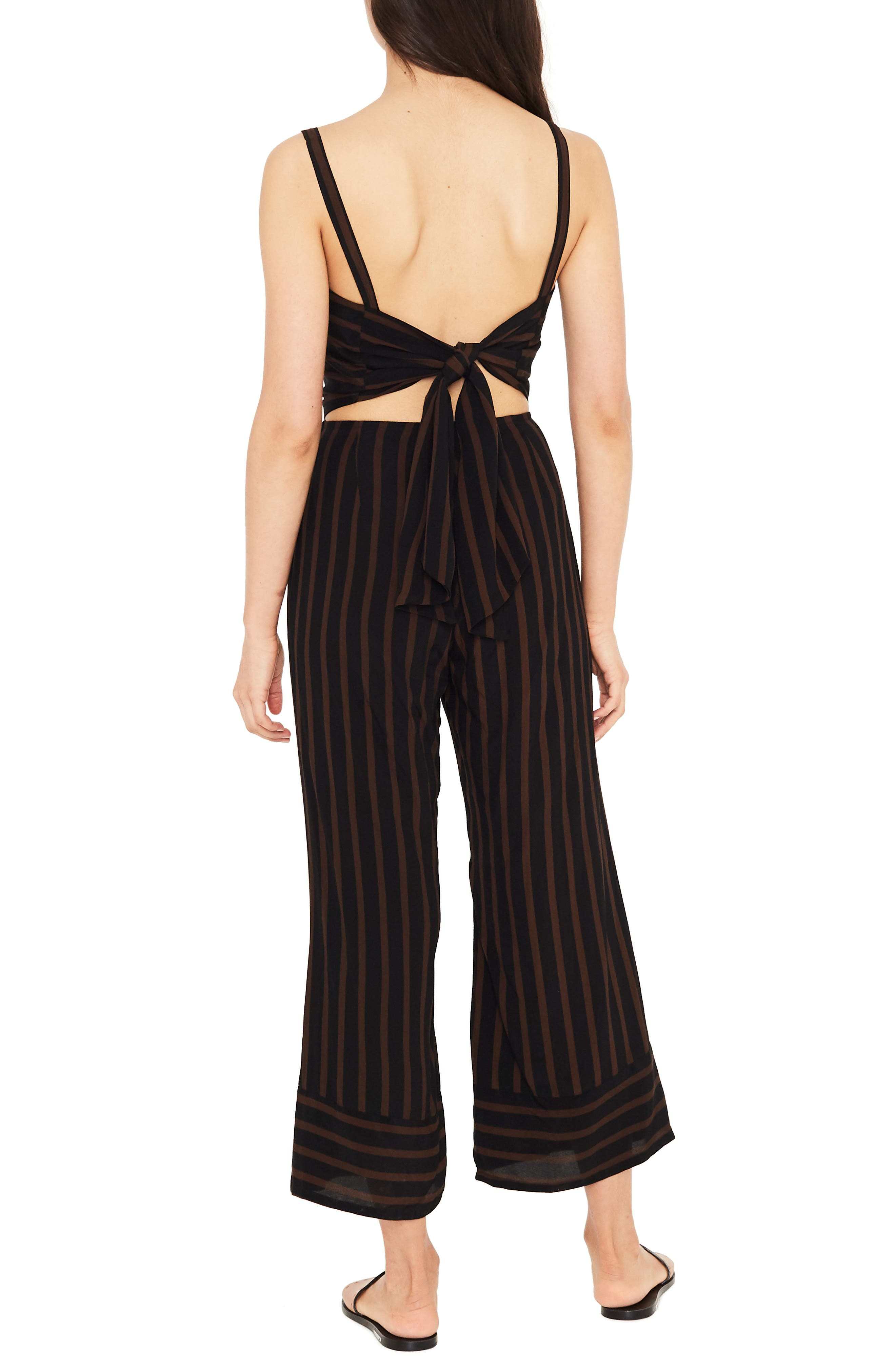 Guanabo Tie Back Stripe Jumpsuit,                             Alternate thumbnail 2, color,                             MAZUR STRIPE - ESPRESSO