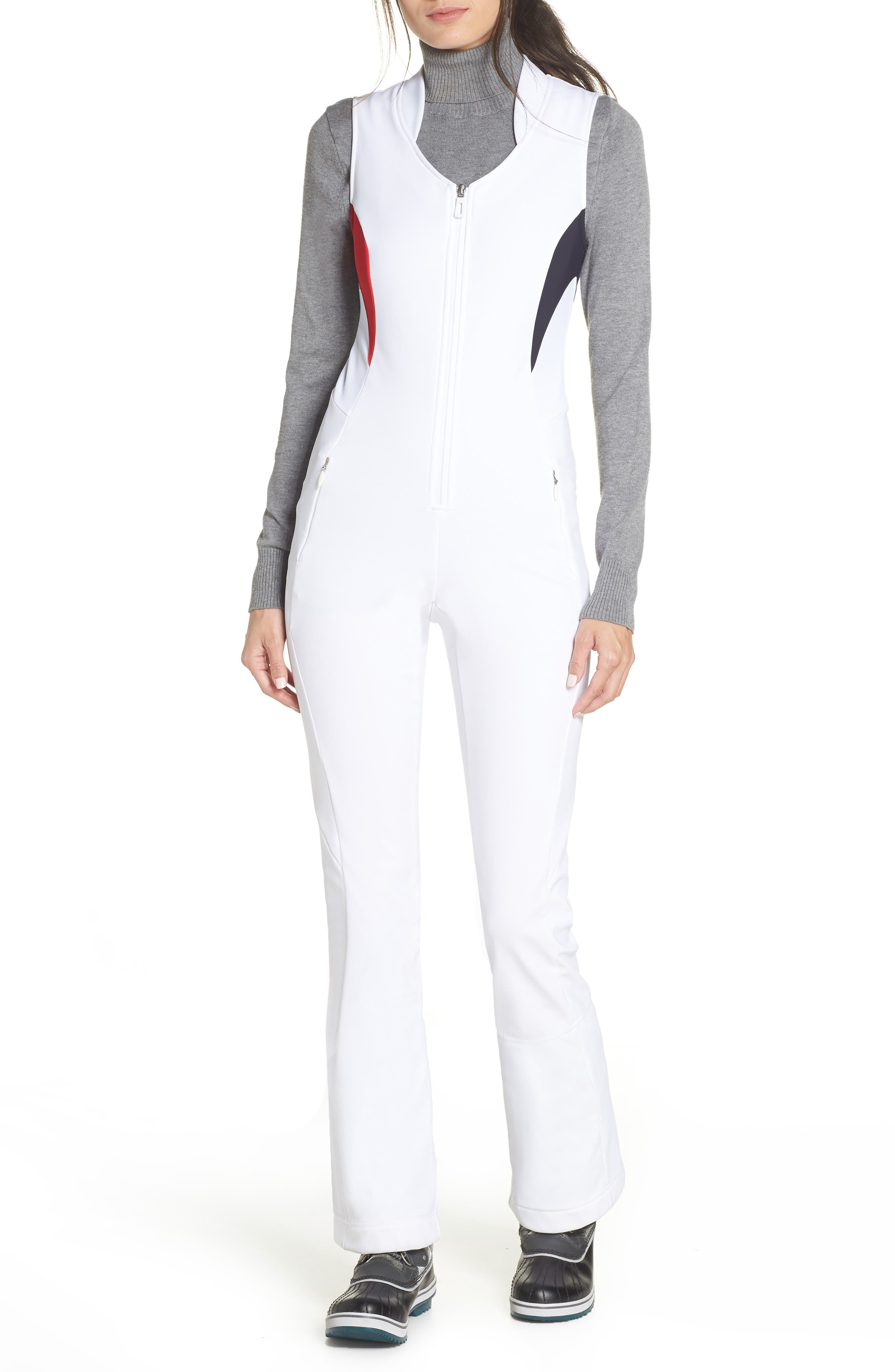LVL XIII Ellipsis Front Zip One-Piece in 100 - White