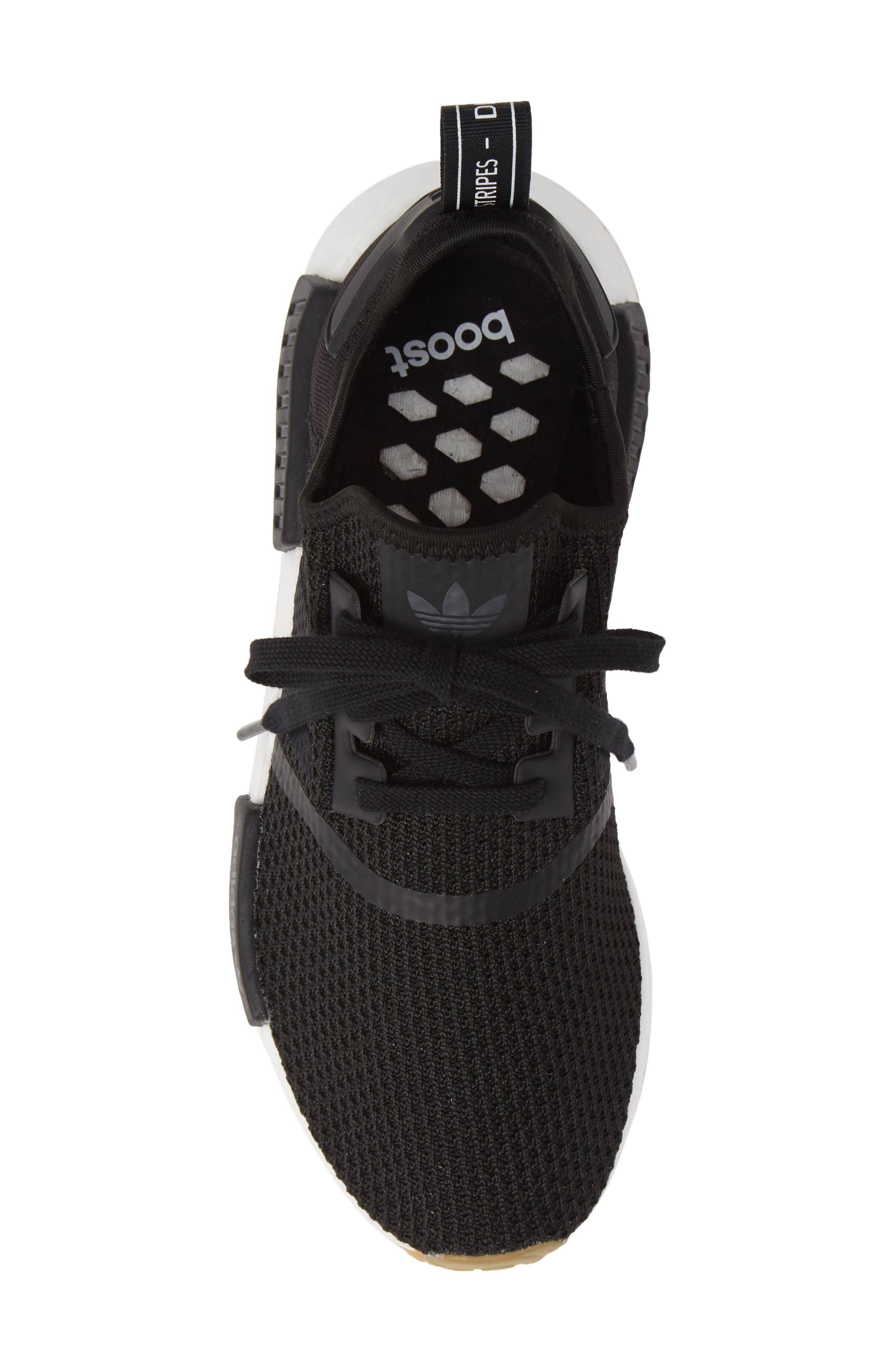 Originals NMD R1 Sneaker,                             Alternate thumbnail 5, color,                             BLACK/ BLACK/ GUM
