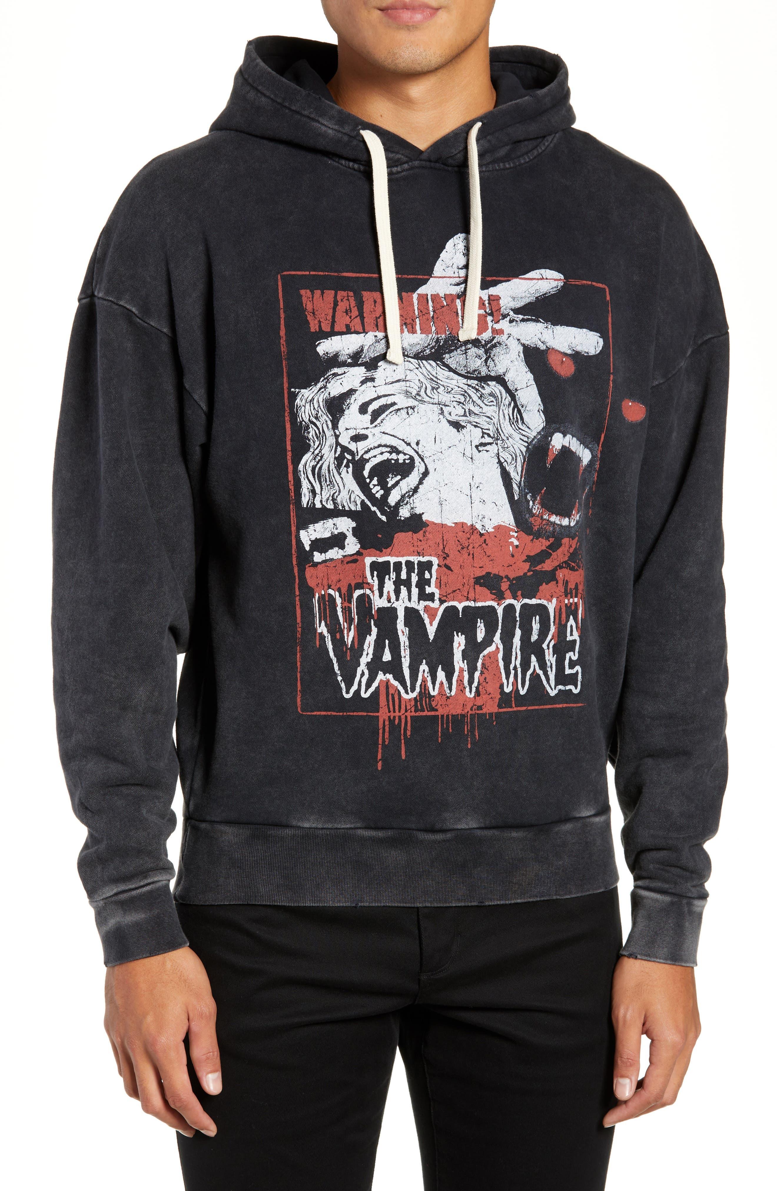 Vampire Graphic Hooded Sweatshirt,                             Main thumbnail 1, color,                             BLACK