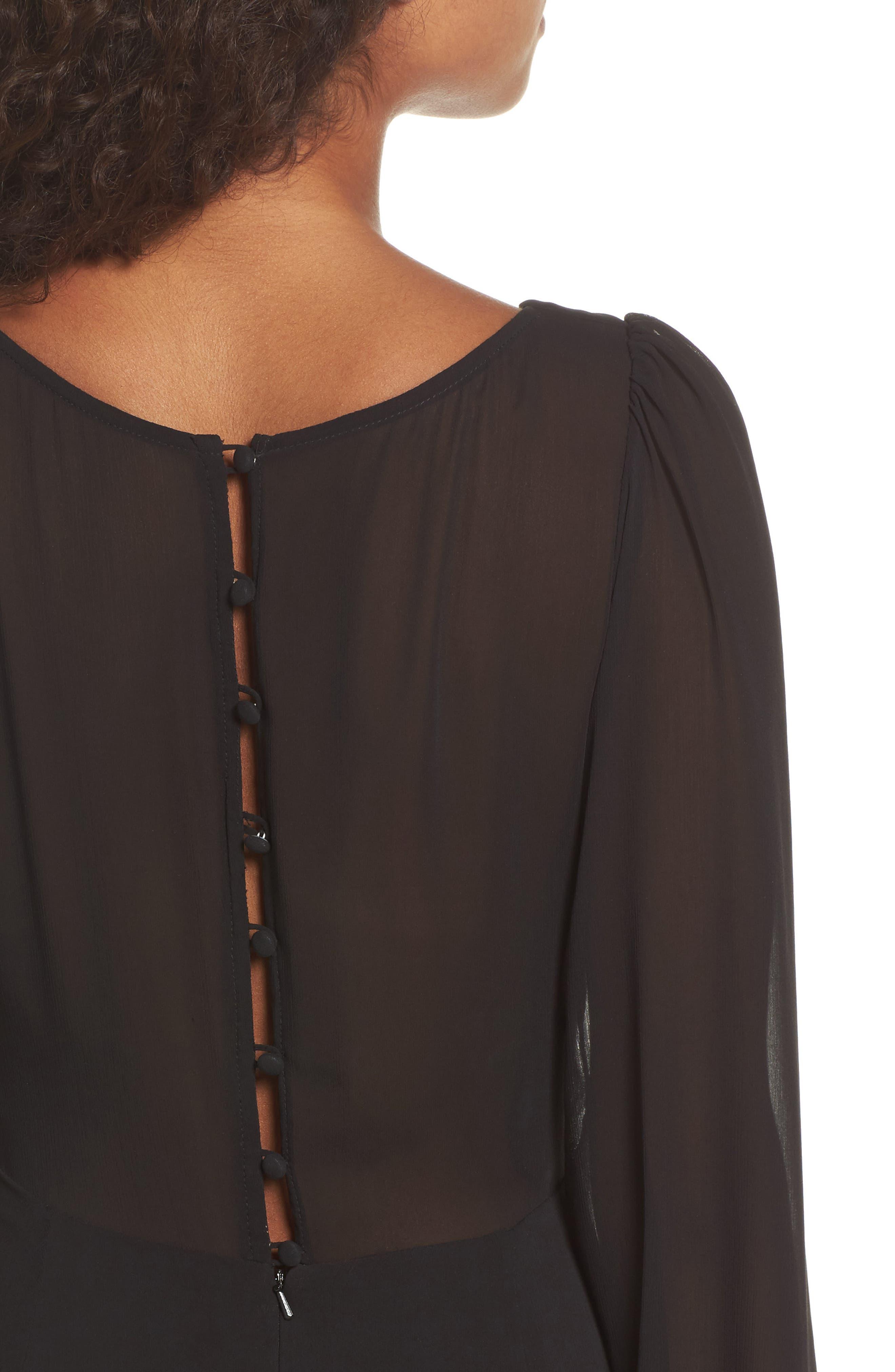 Donna Luxe Chiffon Surplice A-Line Gown,                             Alternate thumbnail 4, color,                             001