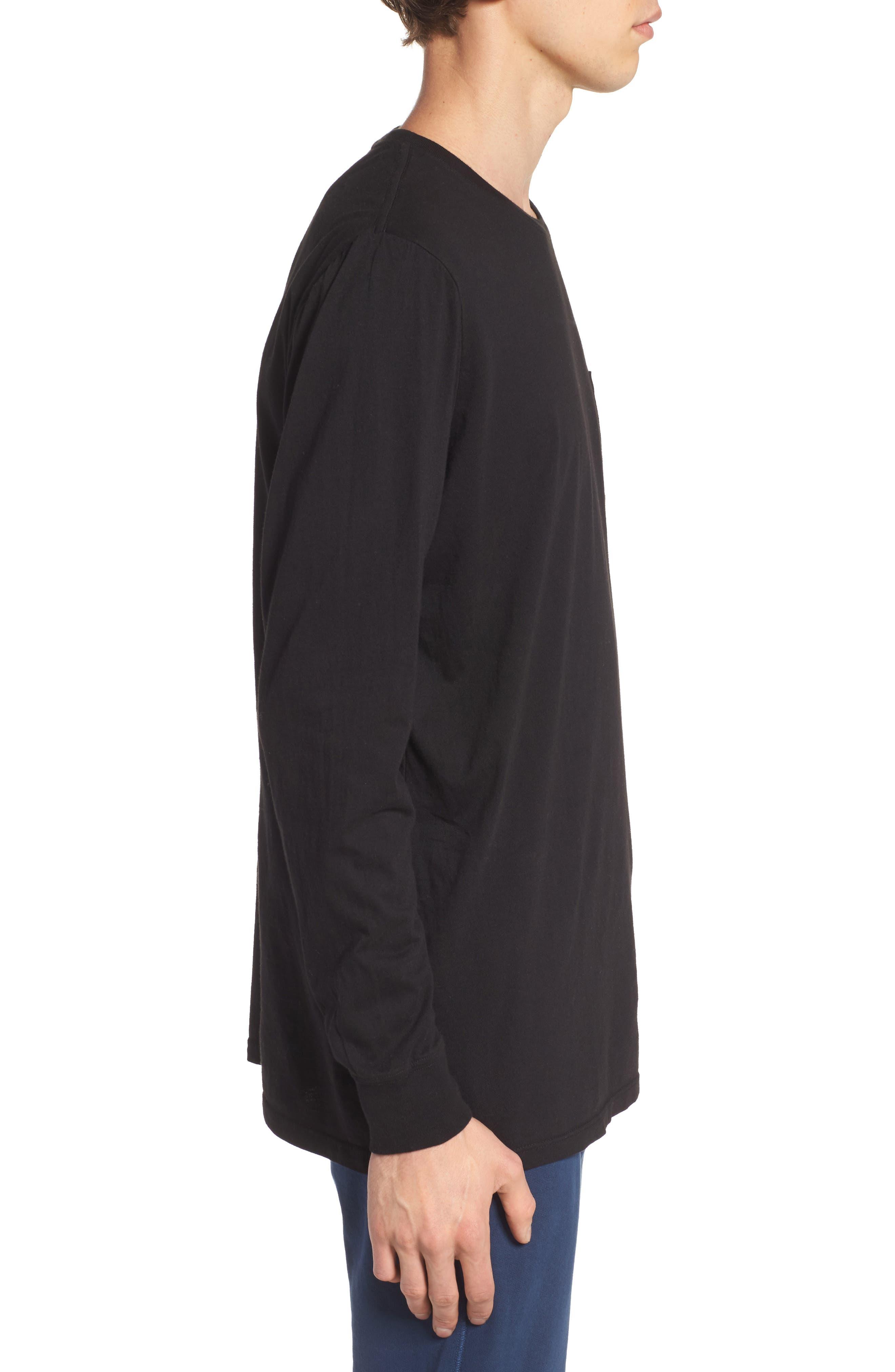 Lounge Long Sleeve Pocket T-Shirt,                             Alternate thumbnail 3, color,                             BLACK