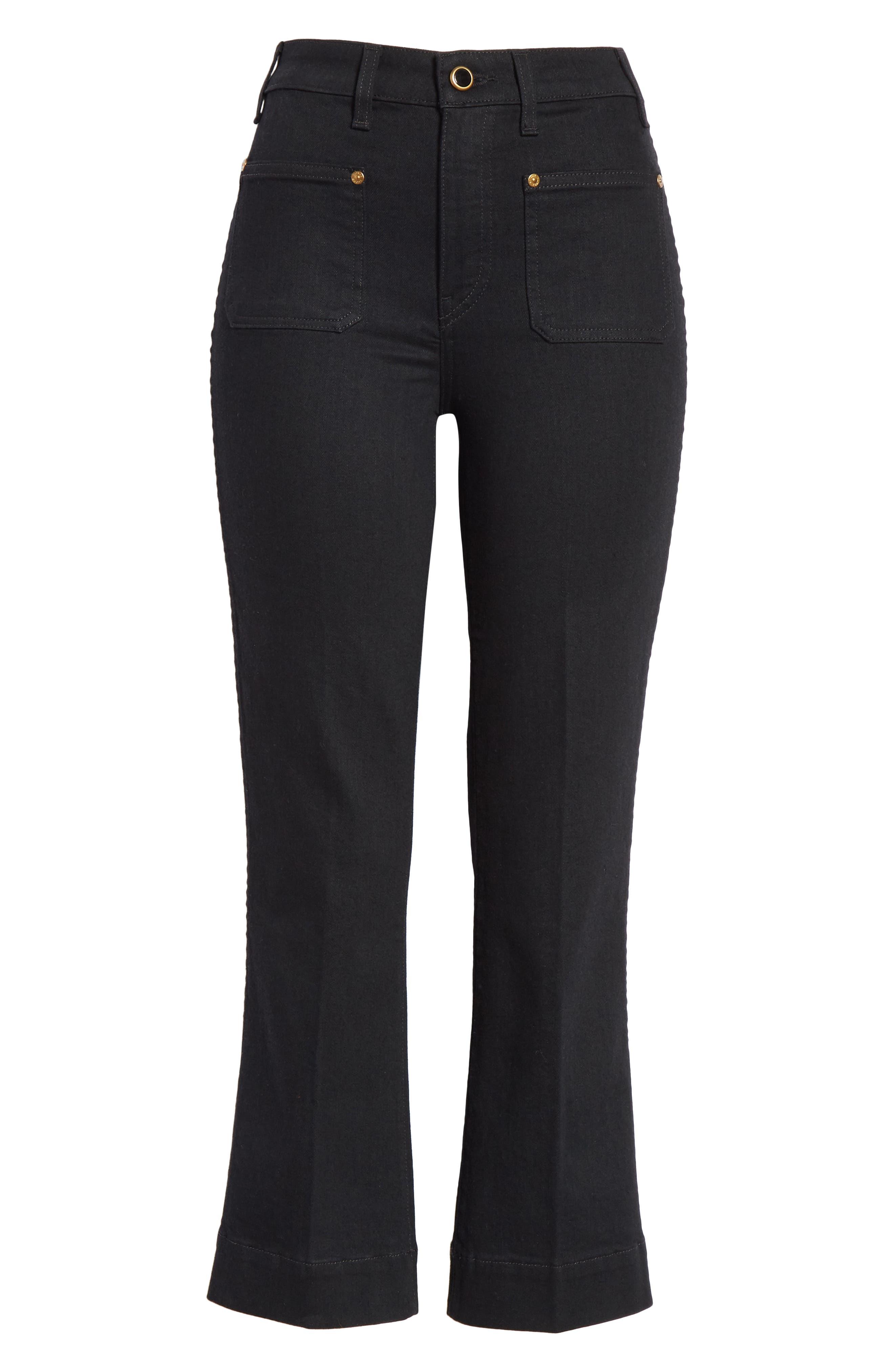 Patch Pocket Crop Flare Jeans,                             Alternate thumbnail 6, color,                             BLACK RINSE