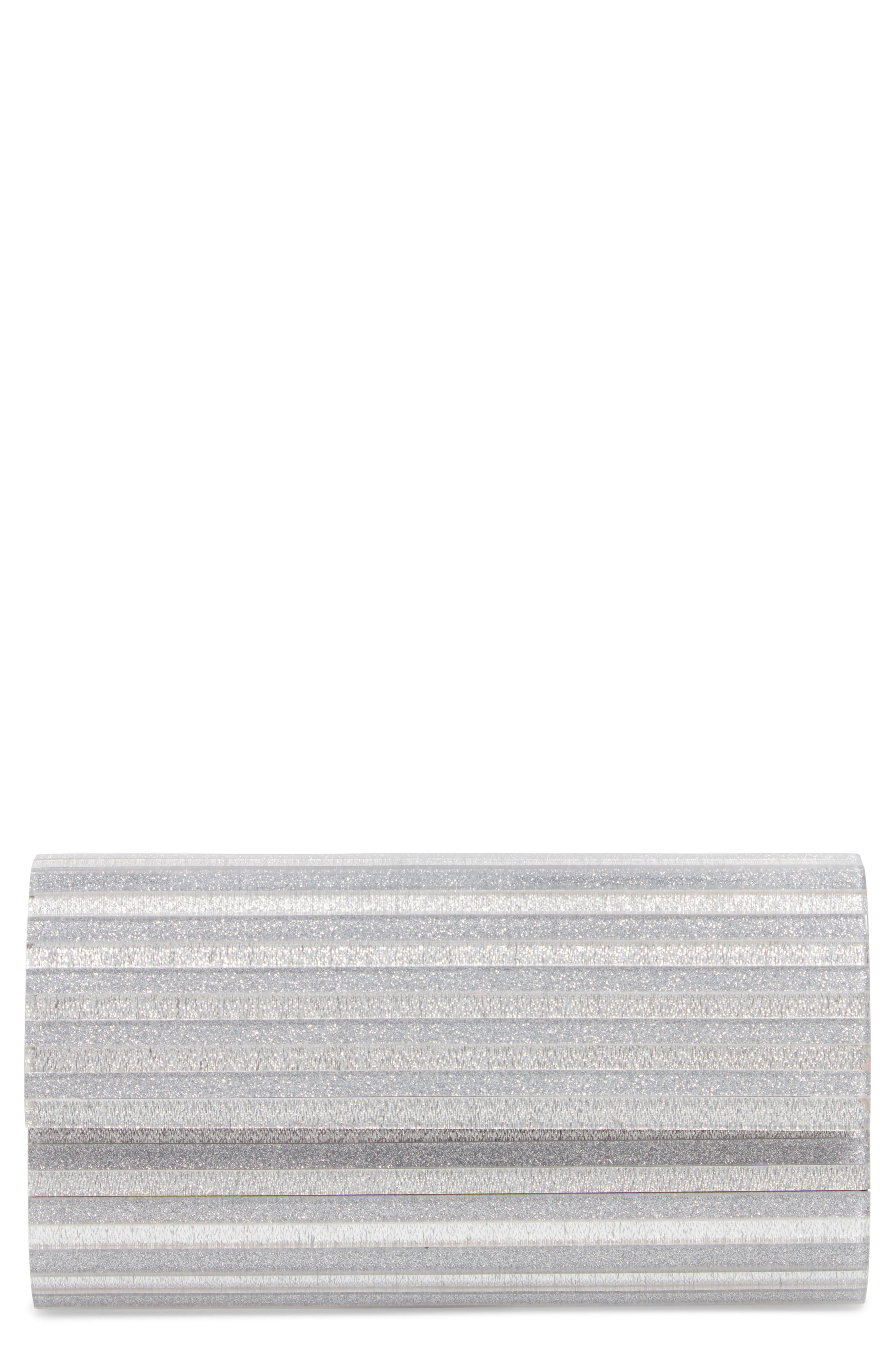 Glitter Lucite<sup>®</sup> Bar Clutch,                             Main thumbnail 1, color,                             SILVER