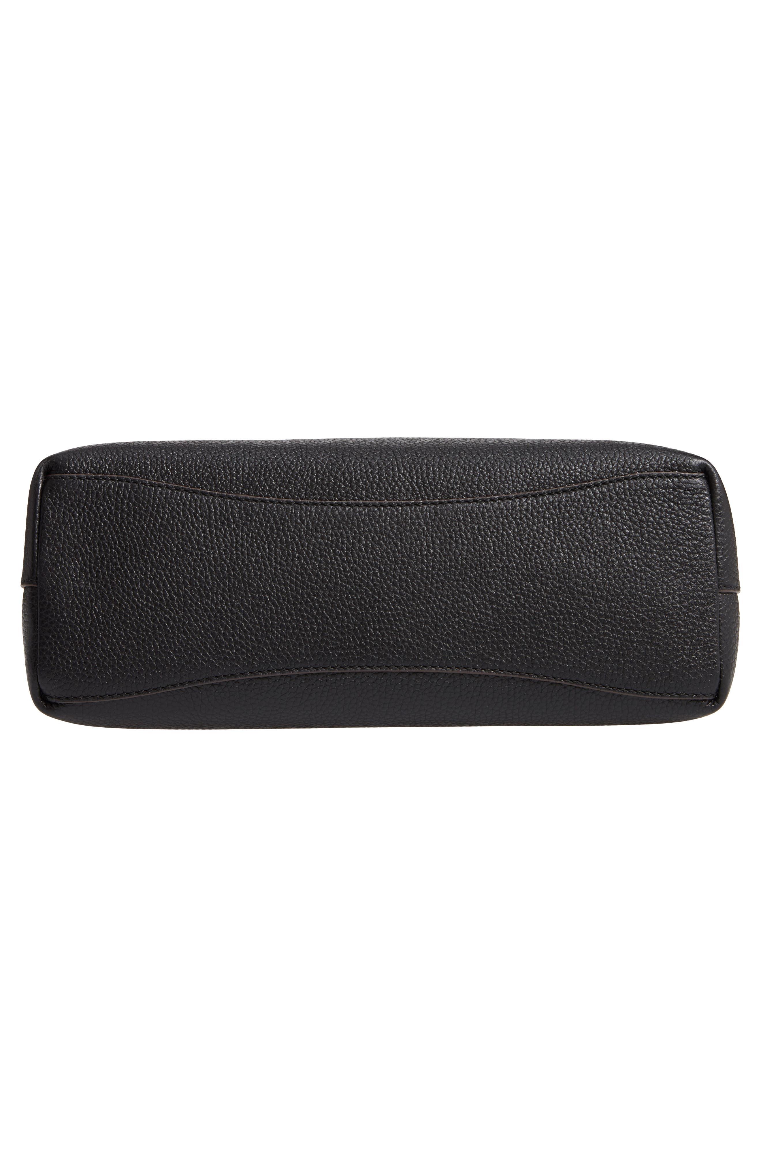 McGraw Triple Compartment Leather Satchel,                             Alternate thumbnail 6, color,                             BLACK