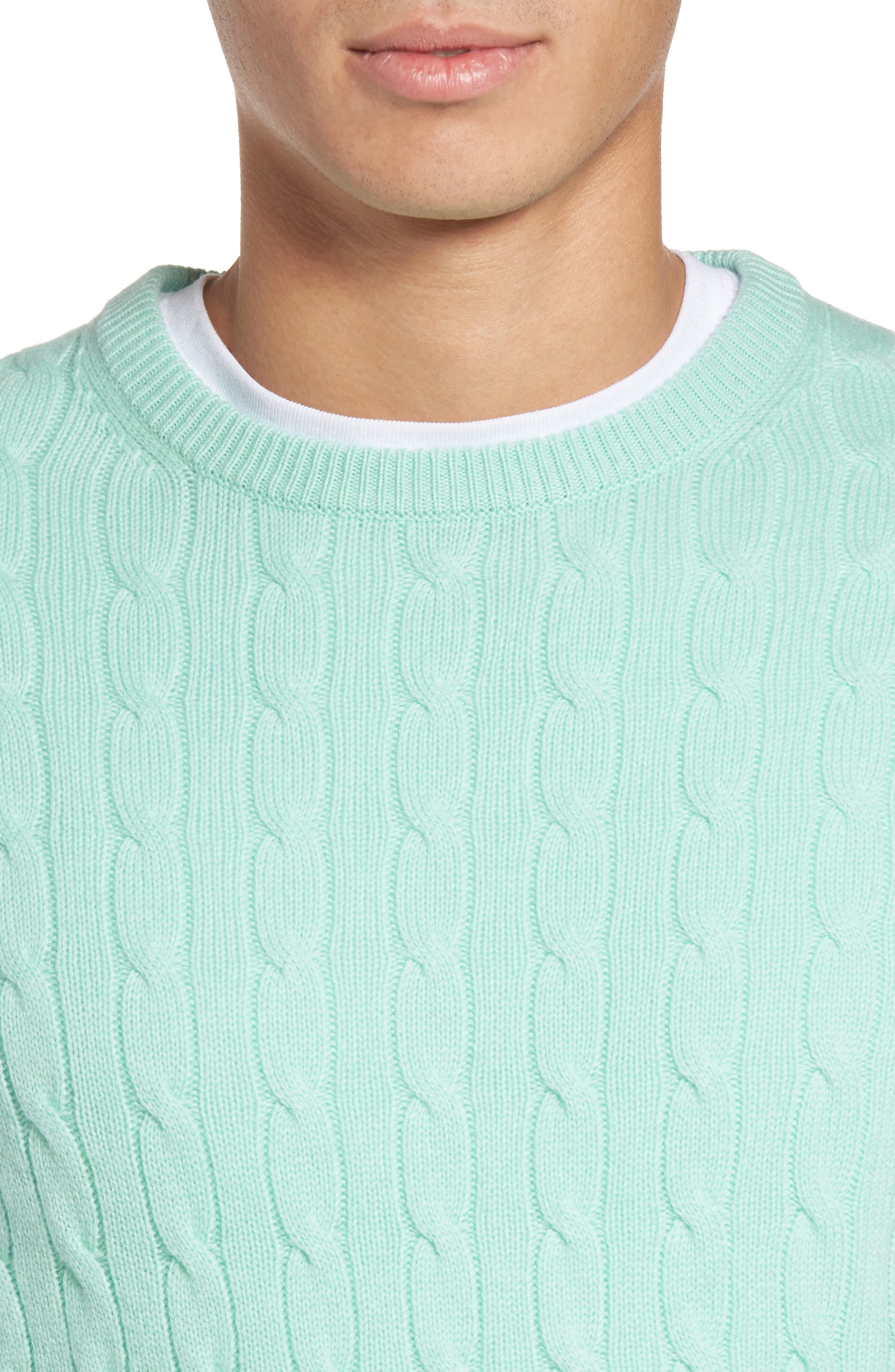Wool & Cashmere Cable Knit Sweater,                             Alternate thumbnail 4, color,                             301