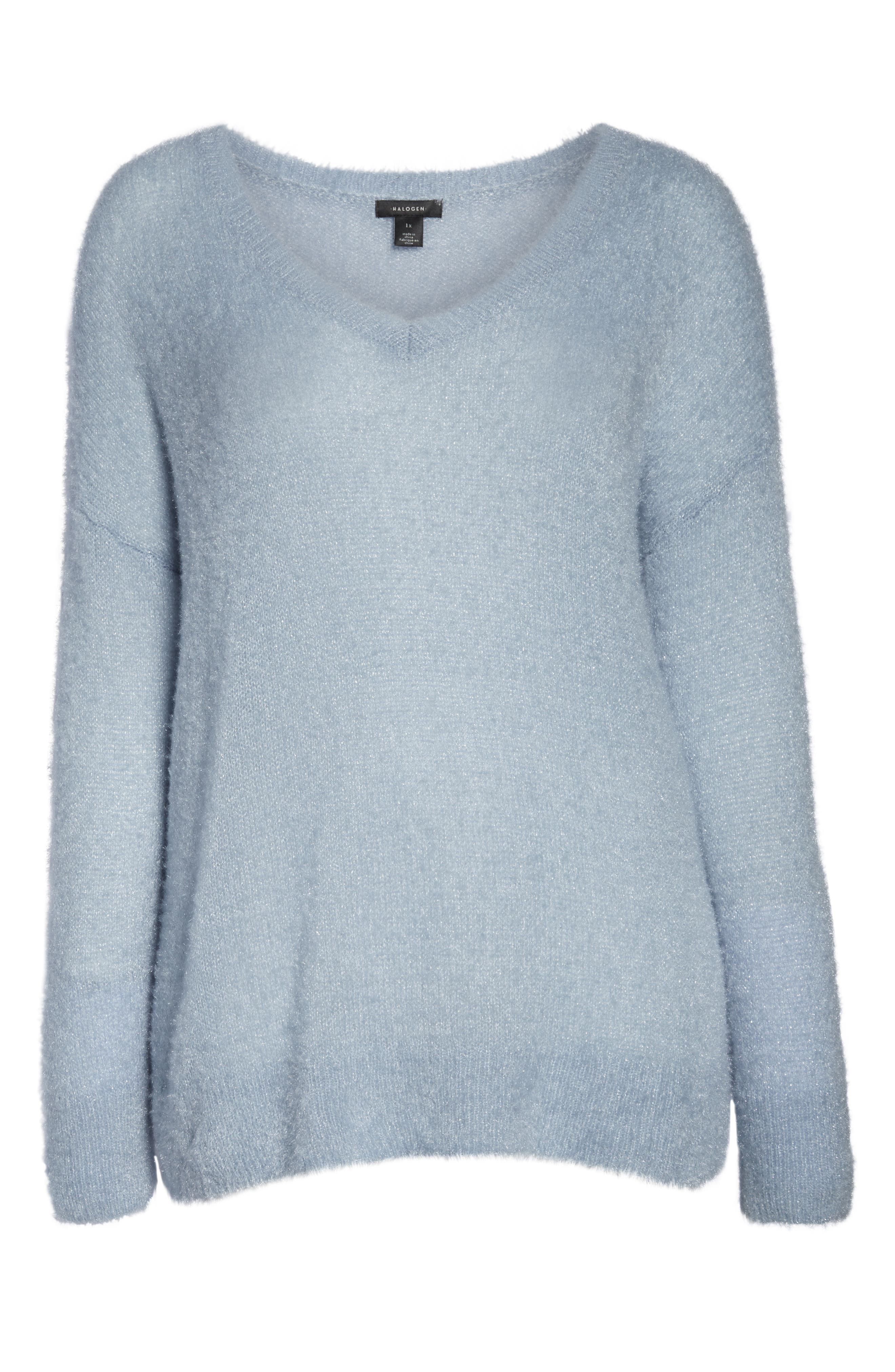 Fuzzy V-Neck Sweater,                             Alternate thumbnail 6, color,                             BLUE FOG